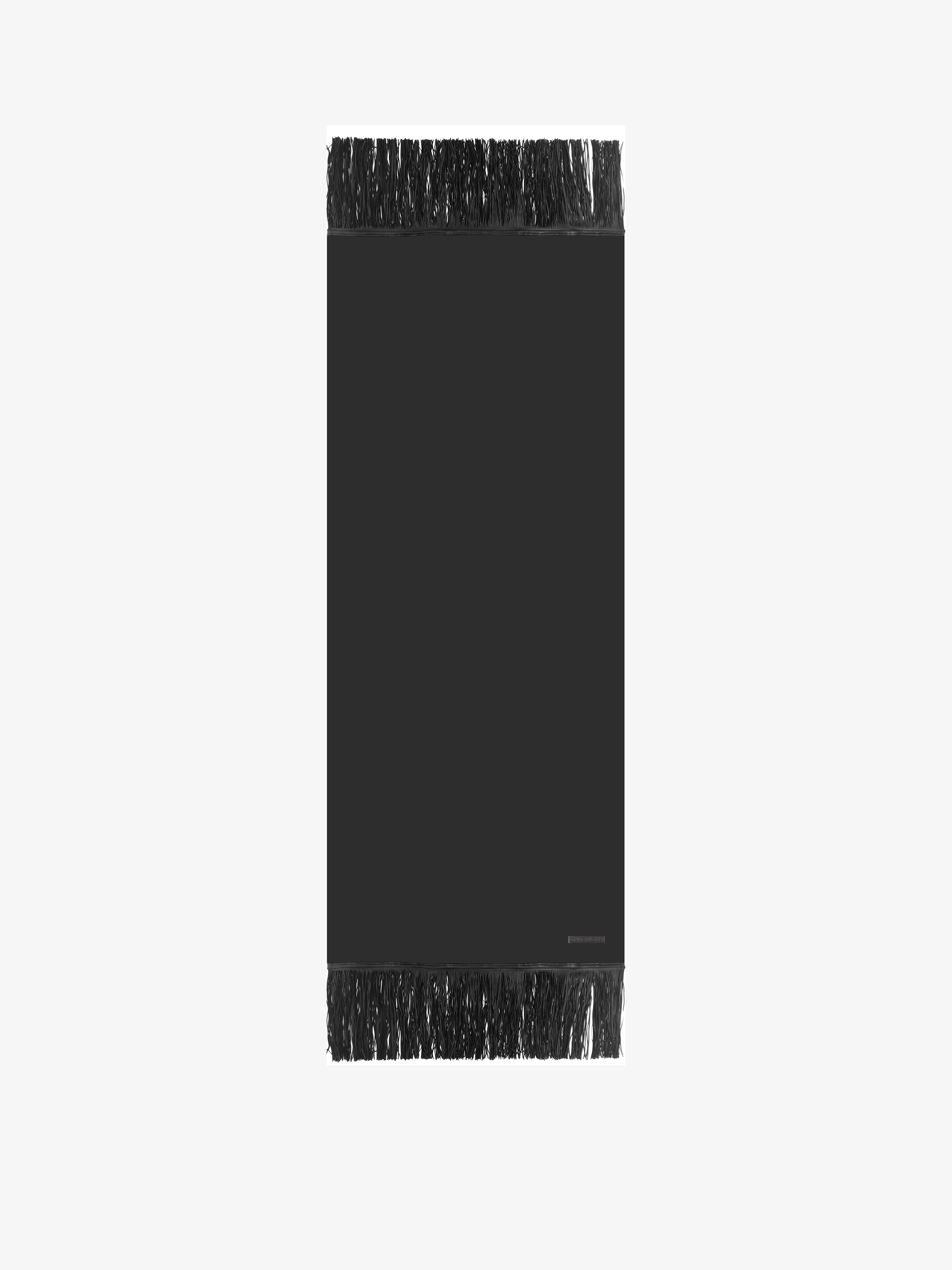 Cashmere scarf with leather fringes