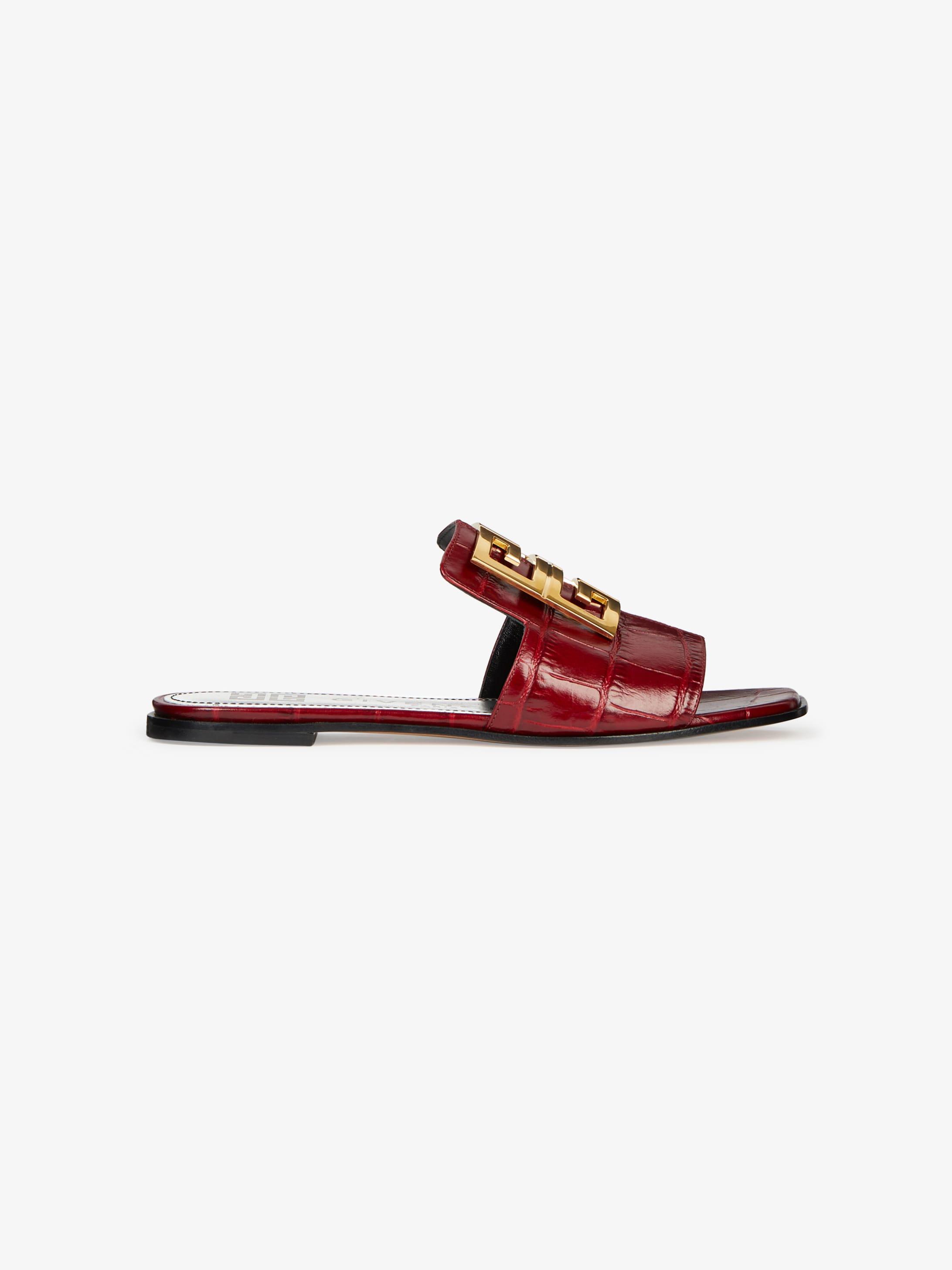 4G LOGO鳄鱼纹效果皮革凉鞋