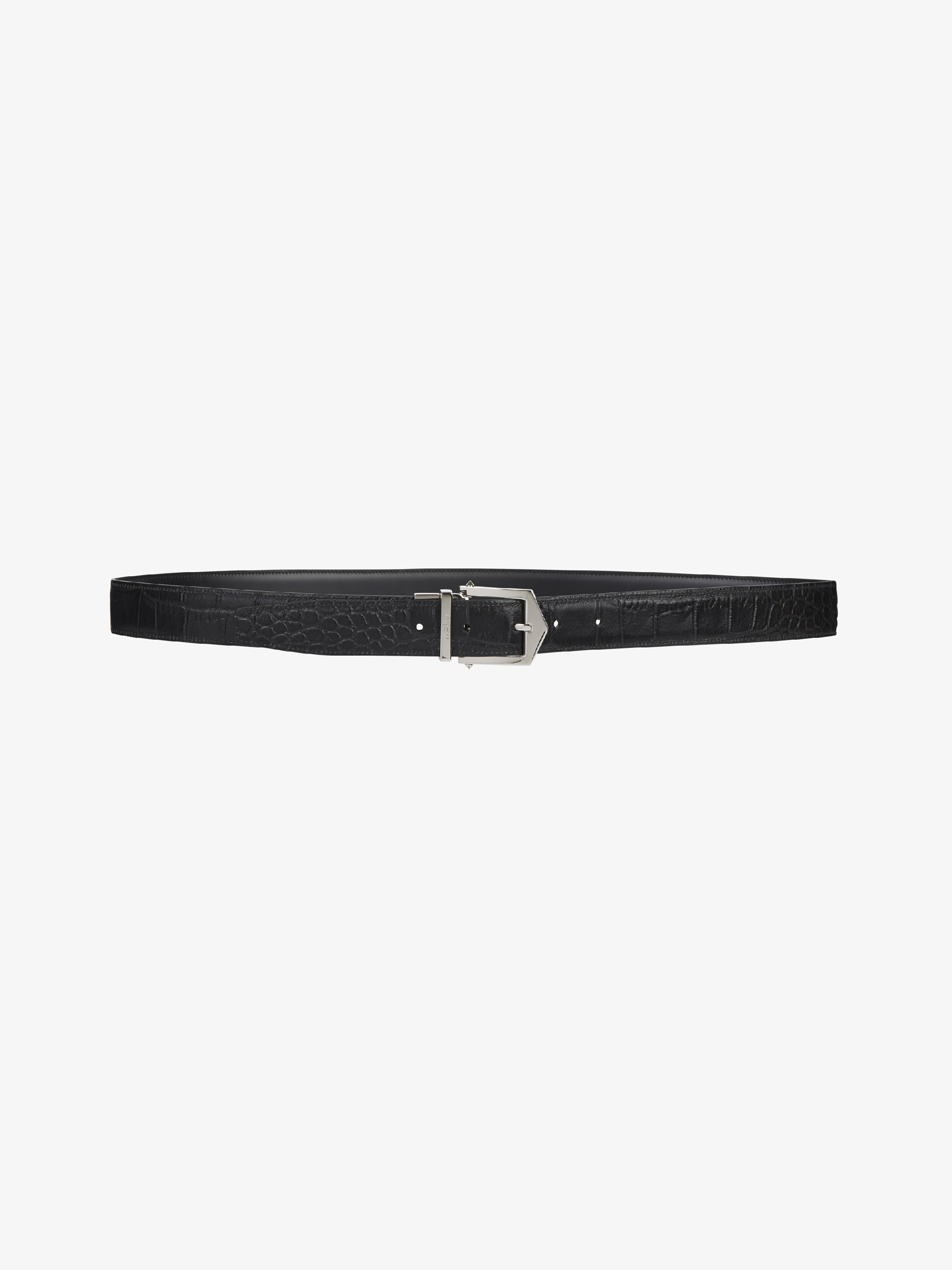 Smooth and croco embossed leather reversible belt