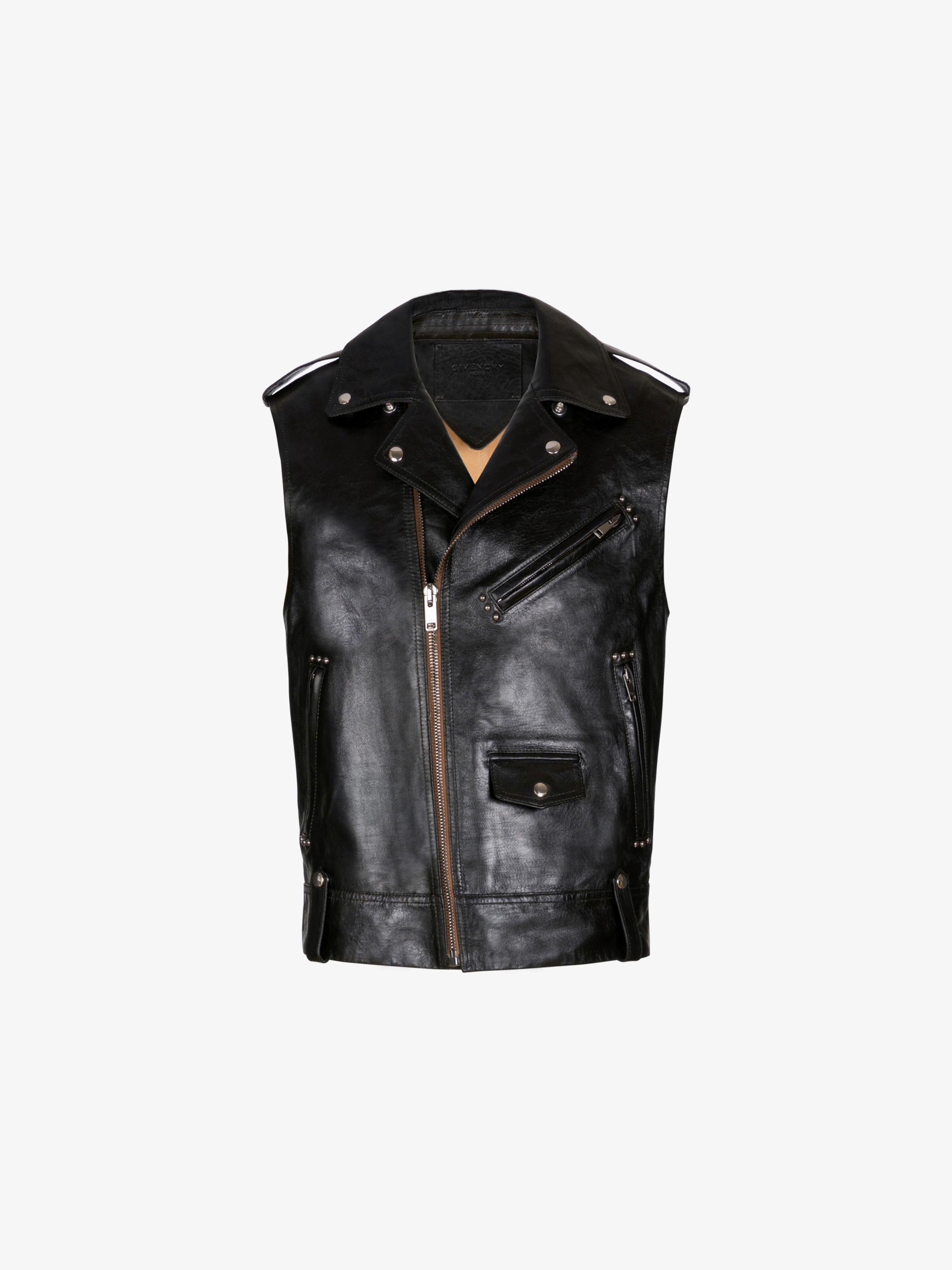 Metal details sleeveless perfecto in leather