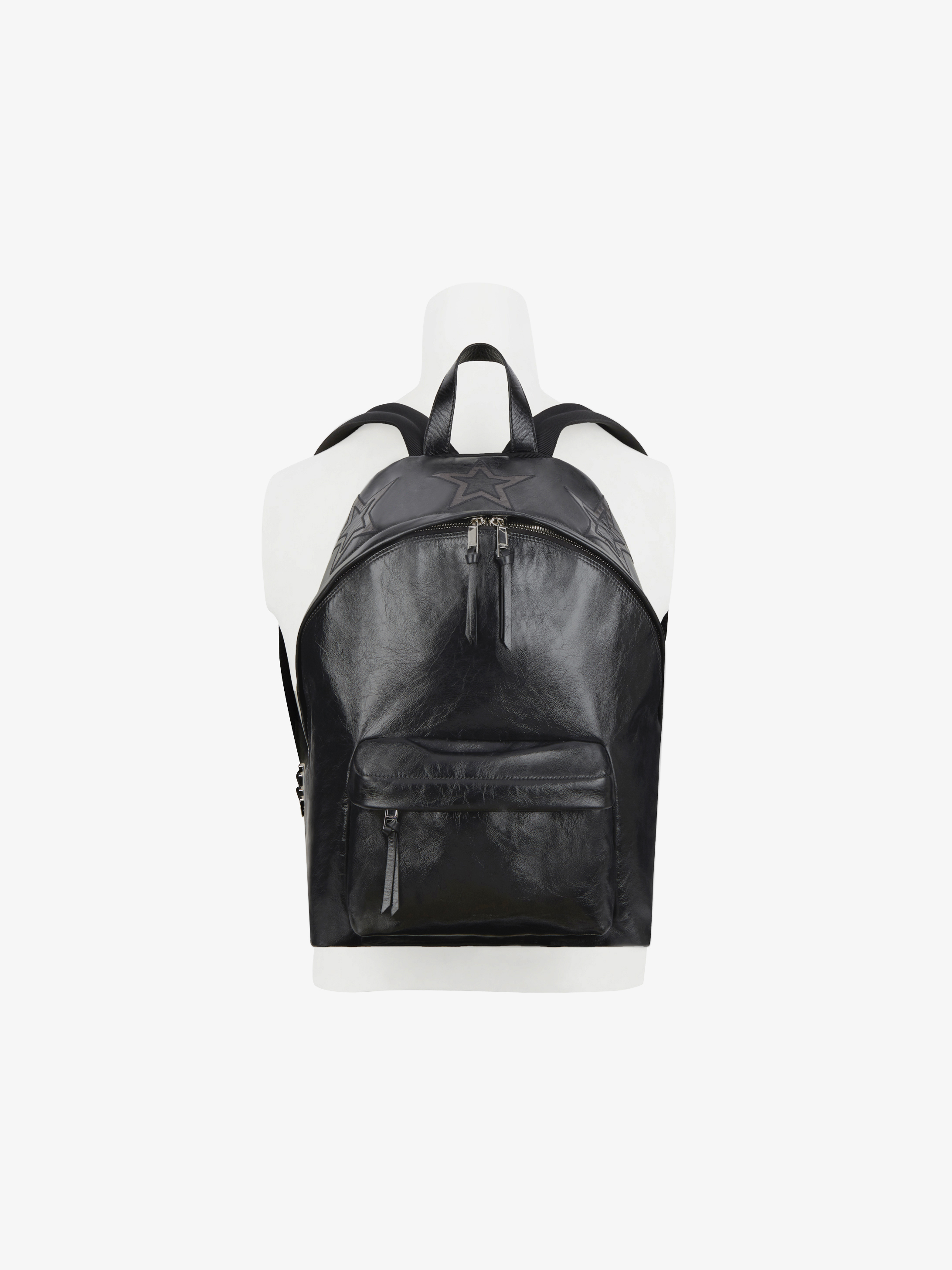Stars backpack in shinny leather