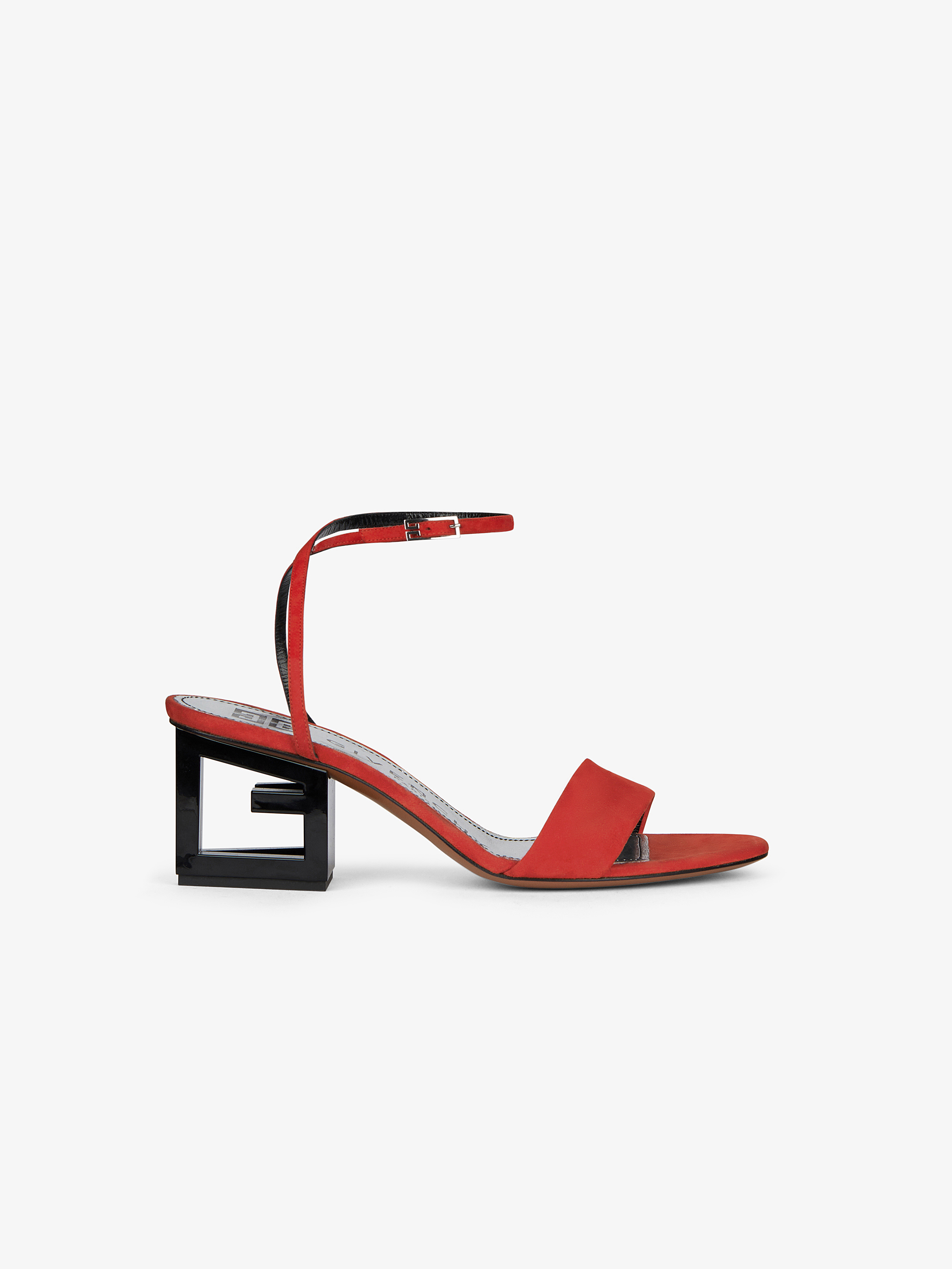 G heel sandals in leather