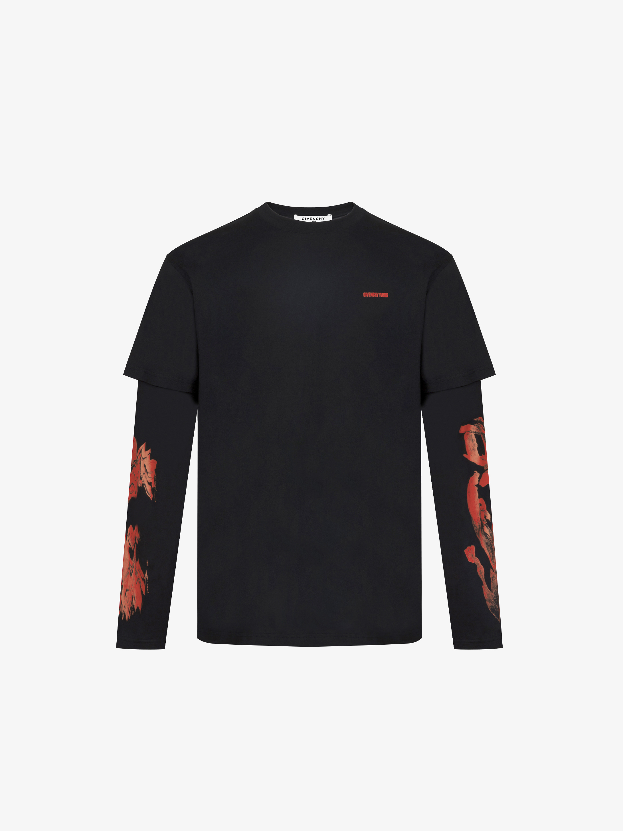 Roses printed double-sleeves T-Shirt