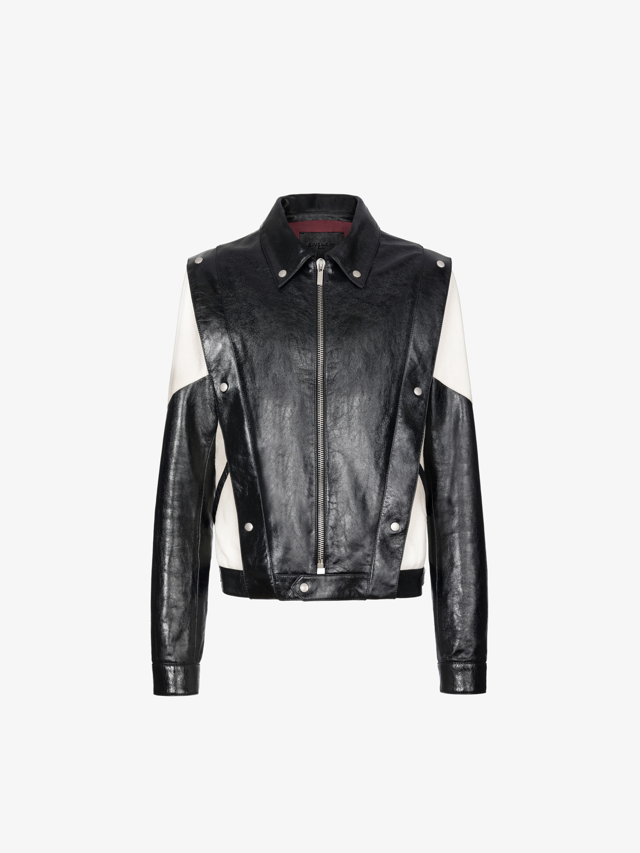 two-toned casual jacket in leather and canvas