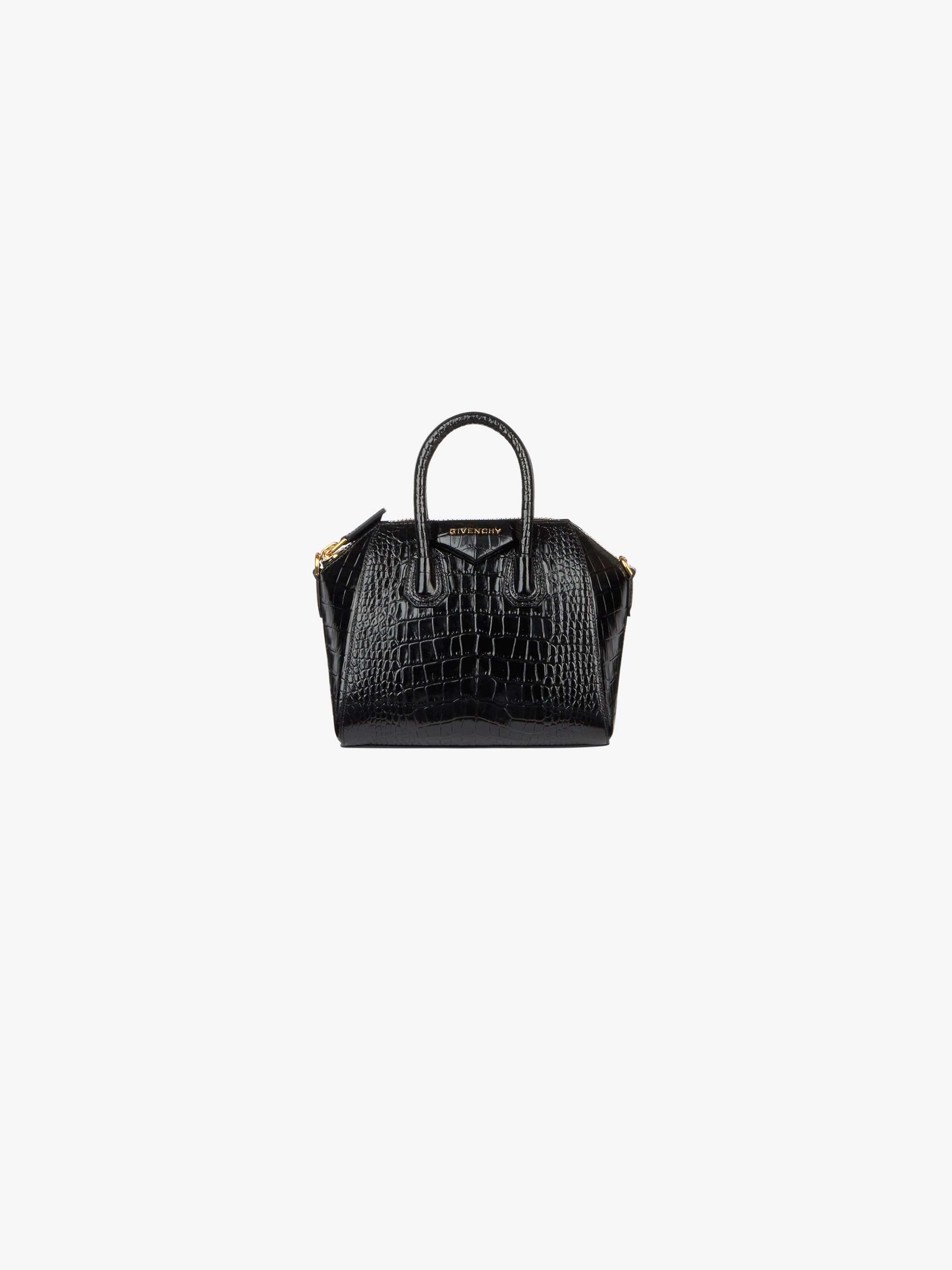 Mini Antigona bag in crocodile effect leather