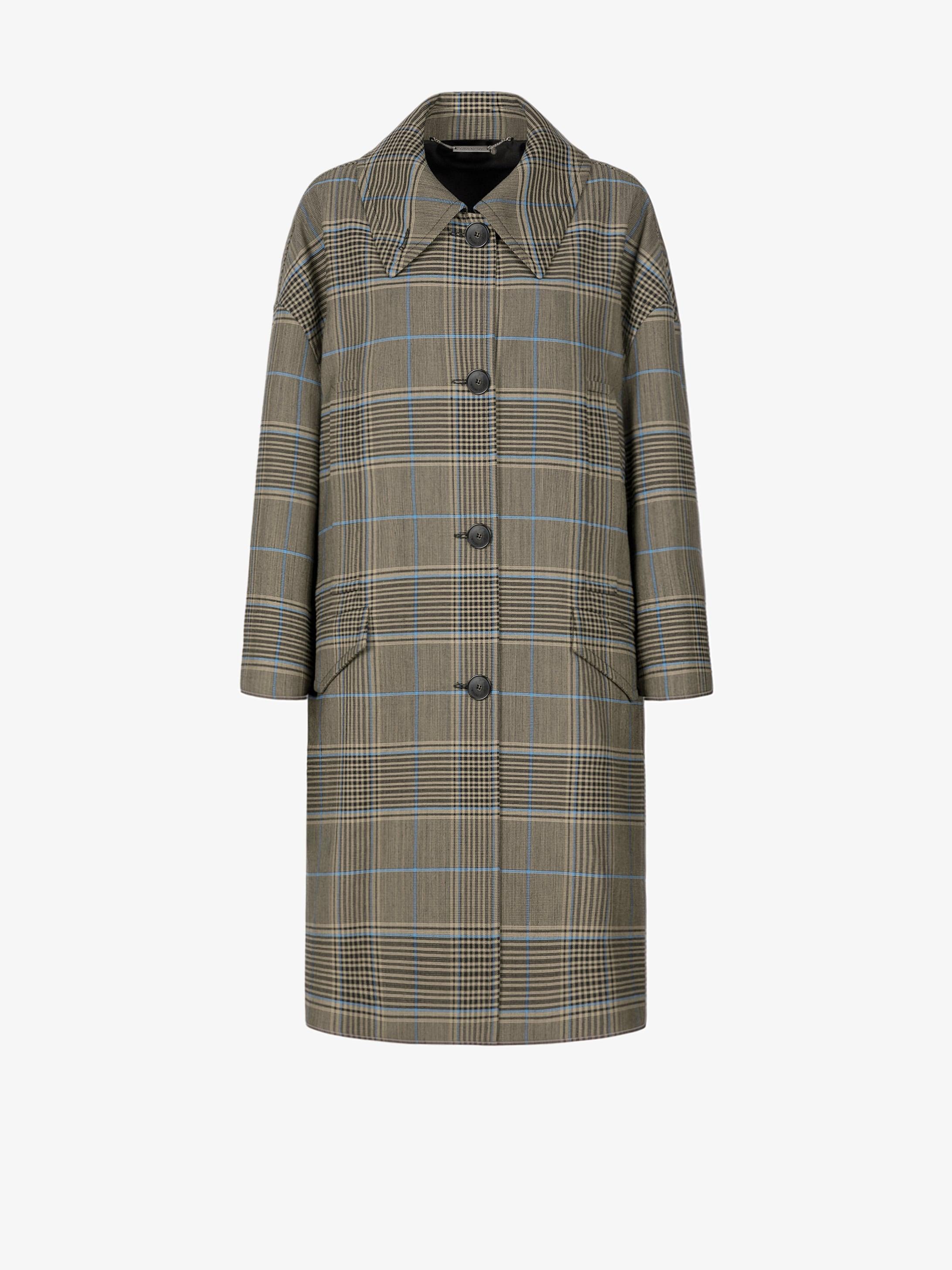Checked oversized coat