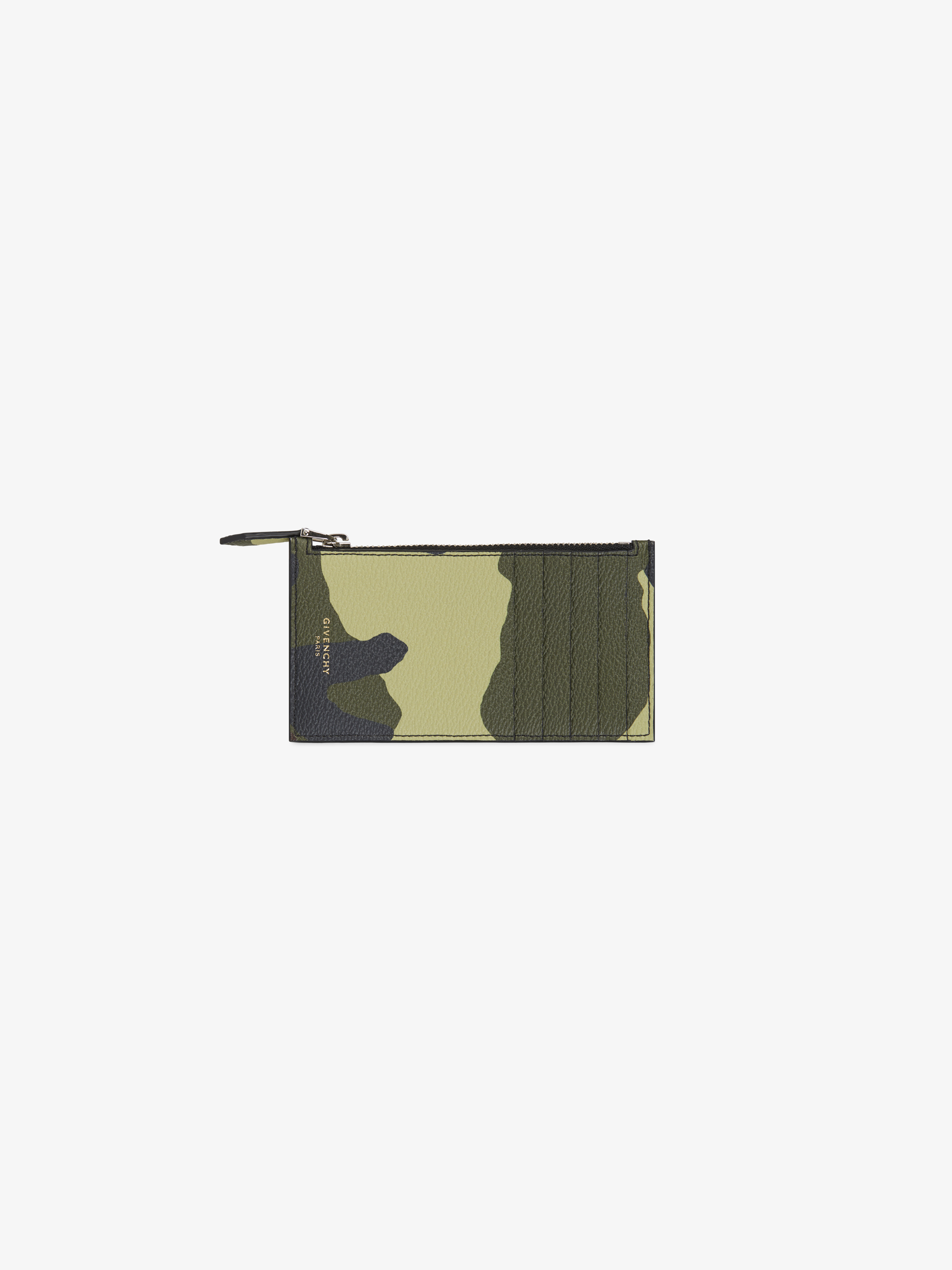 Camo printed zipped card-holder in coated canvas