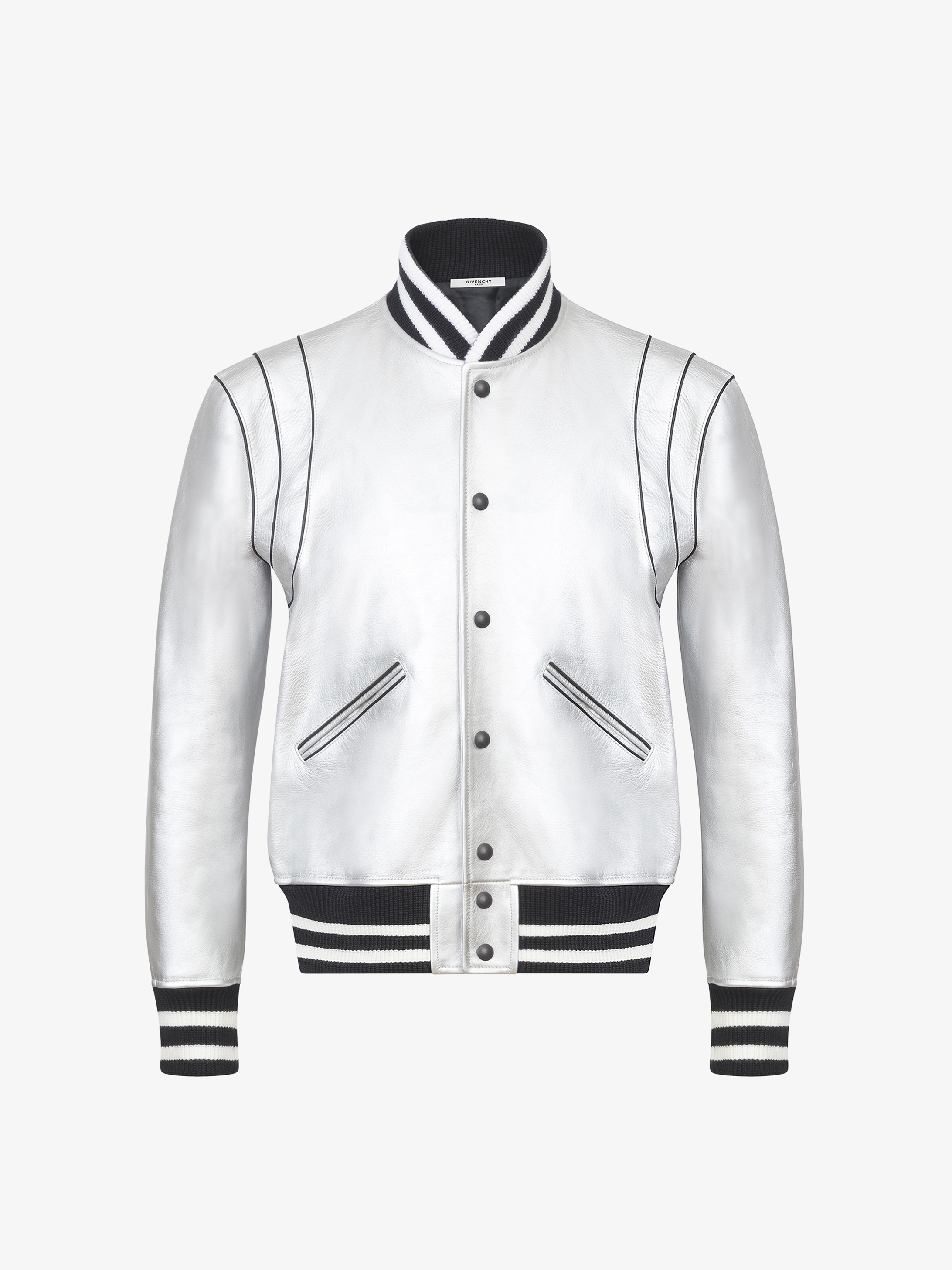 Silver bomber jacket in leather