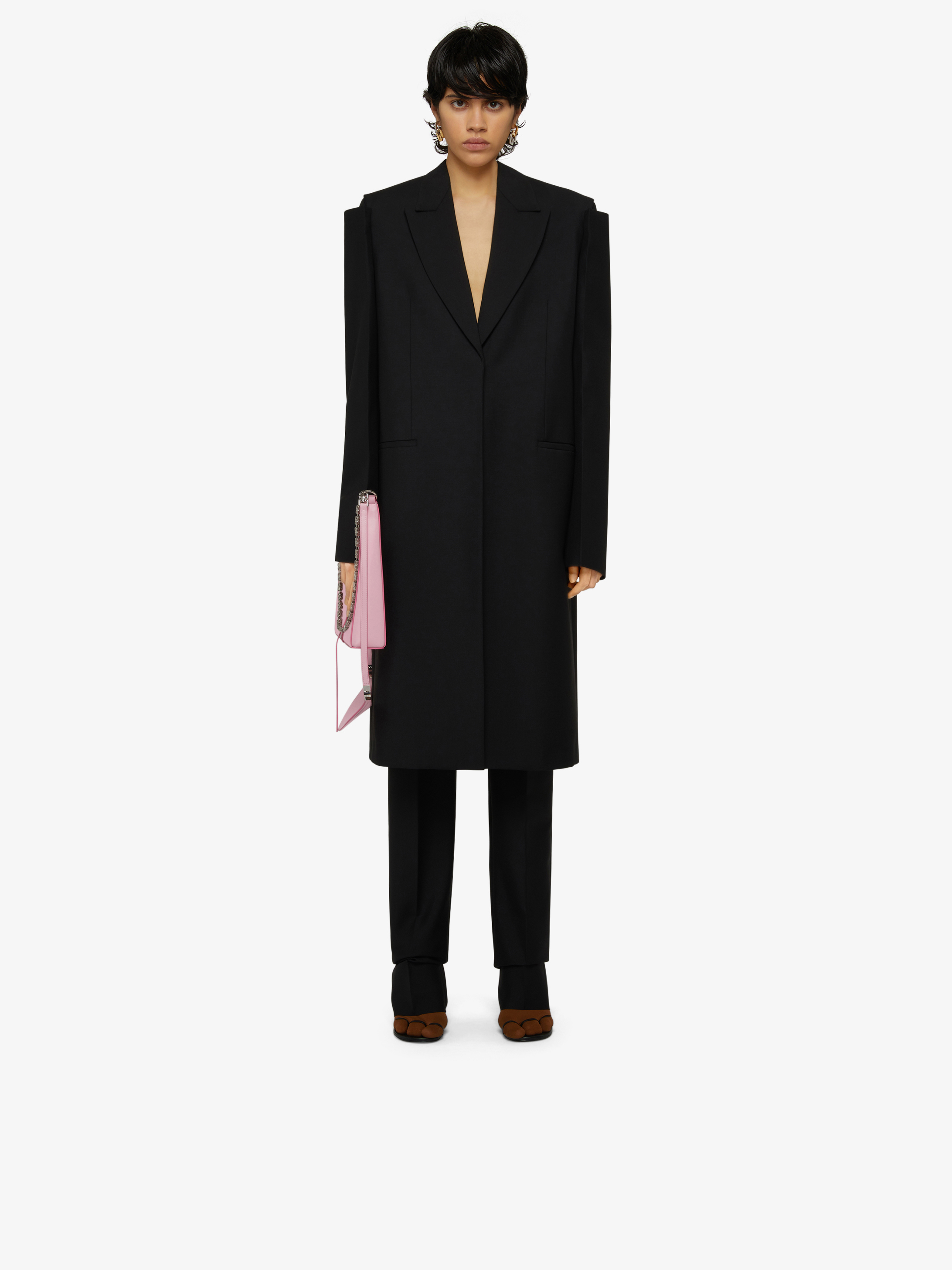 Oversized coat in wool and mohair