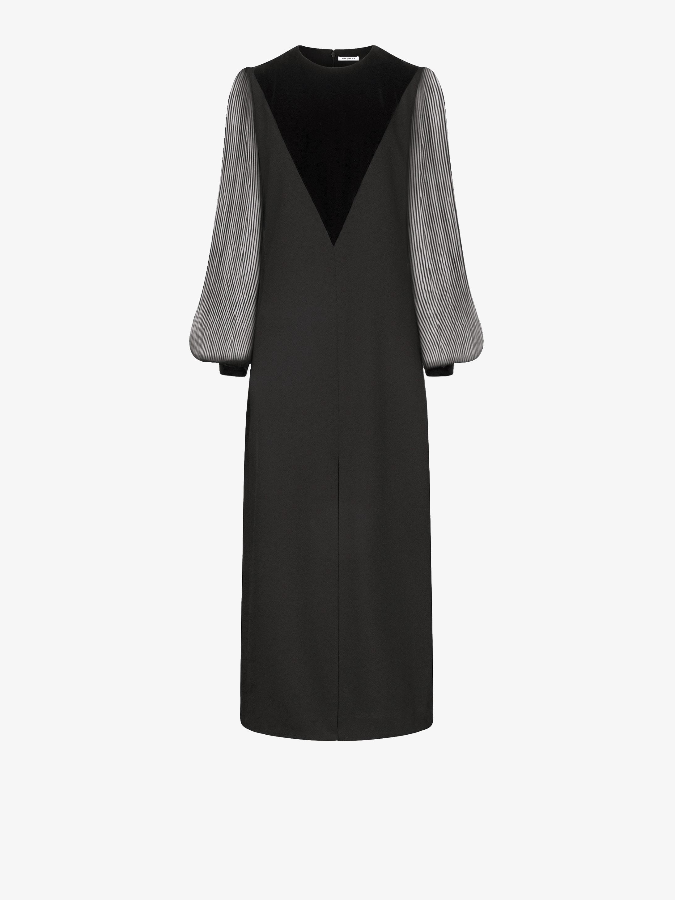 Midi dress with pleated sleeves