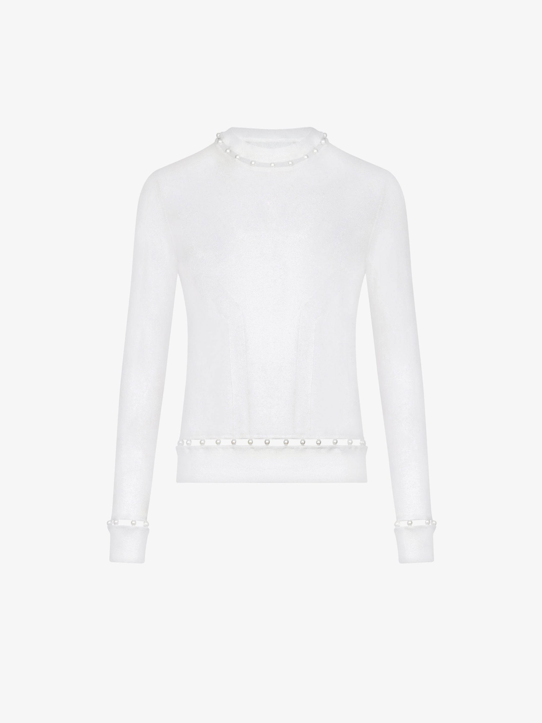 Crew neck jumper with pearls