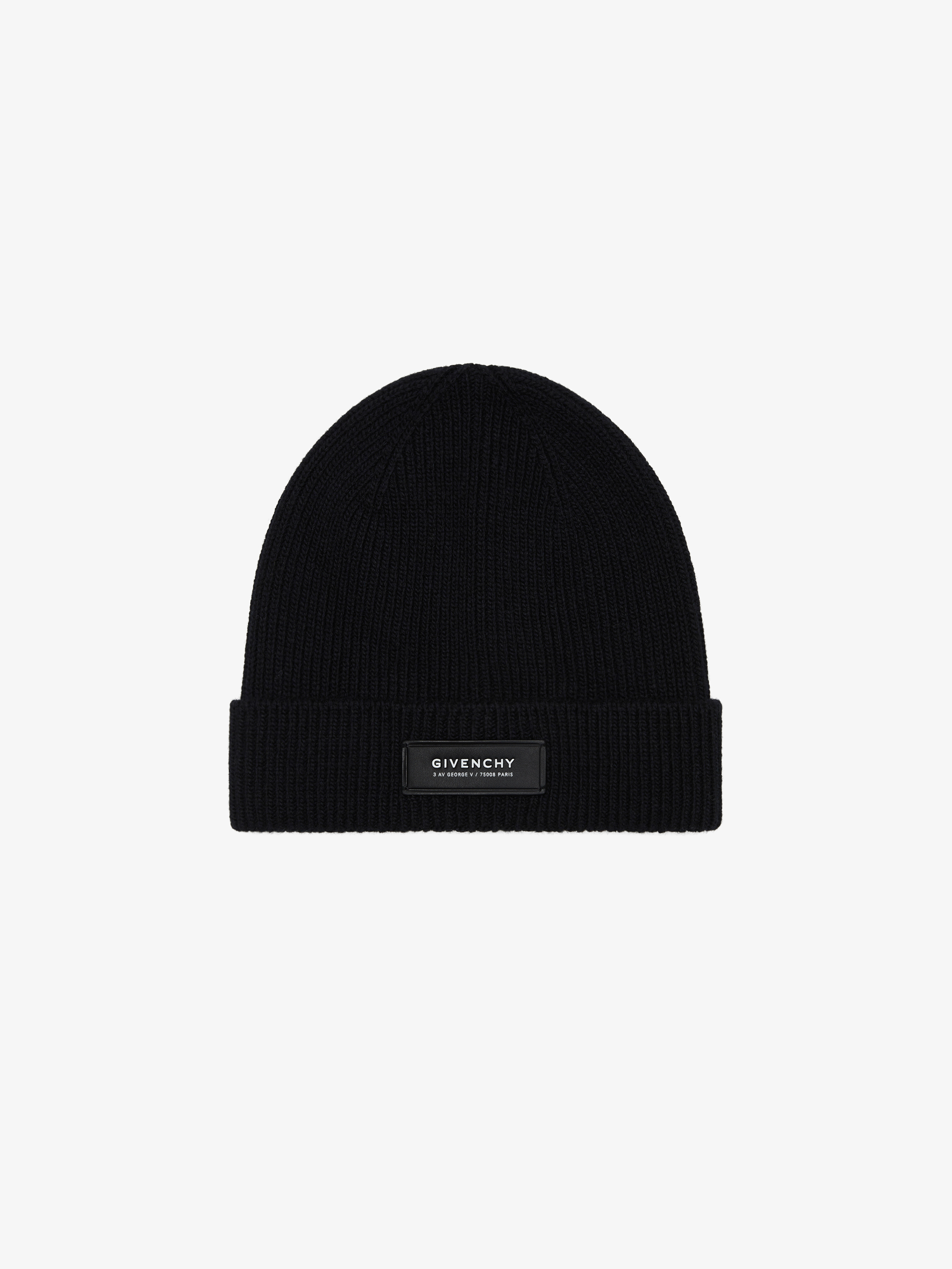 Beanie in wool and cashmere with patch
