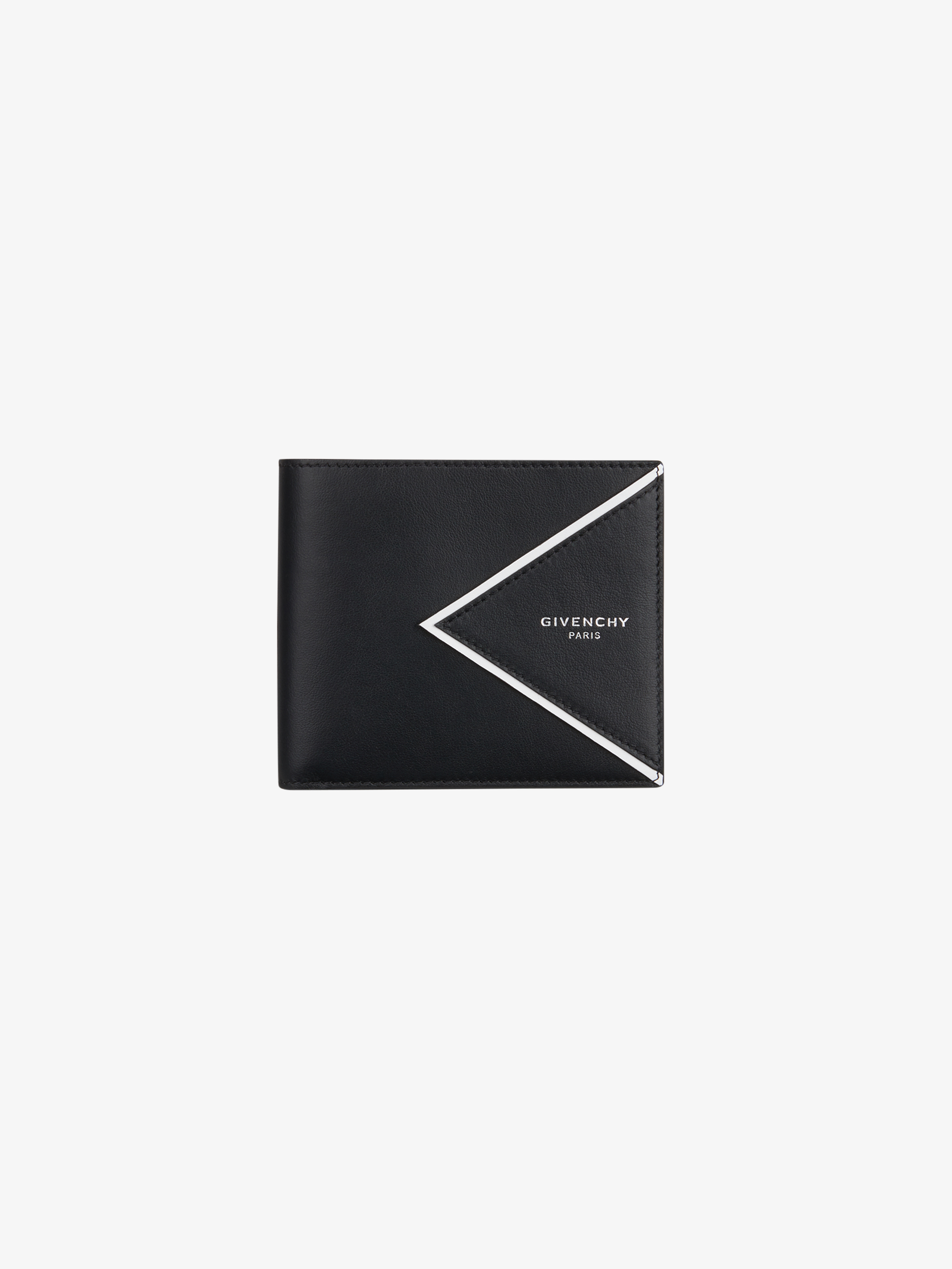 V shape cut wallet in leather