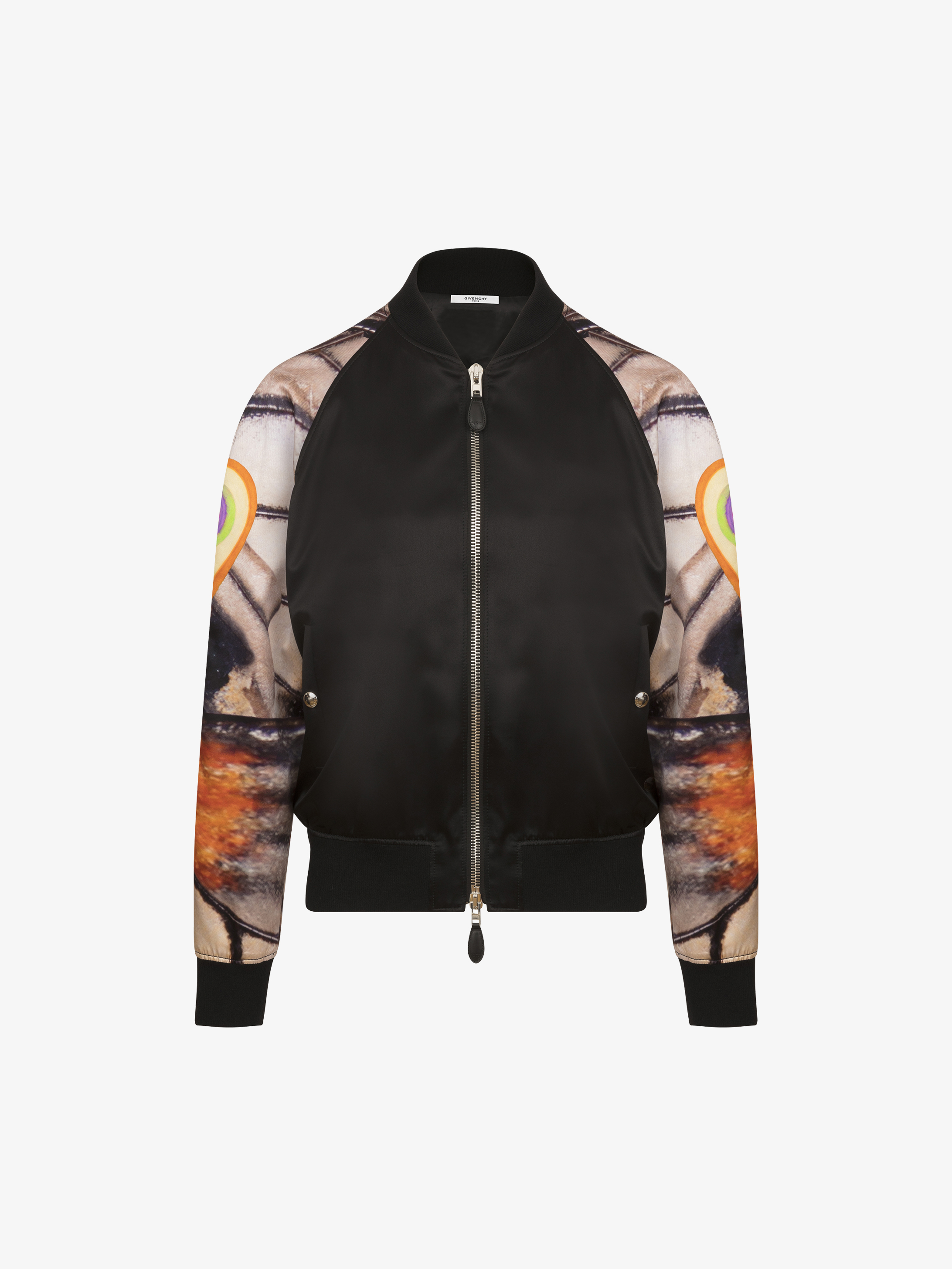 Butterfly printed sleeves bomber jacket