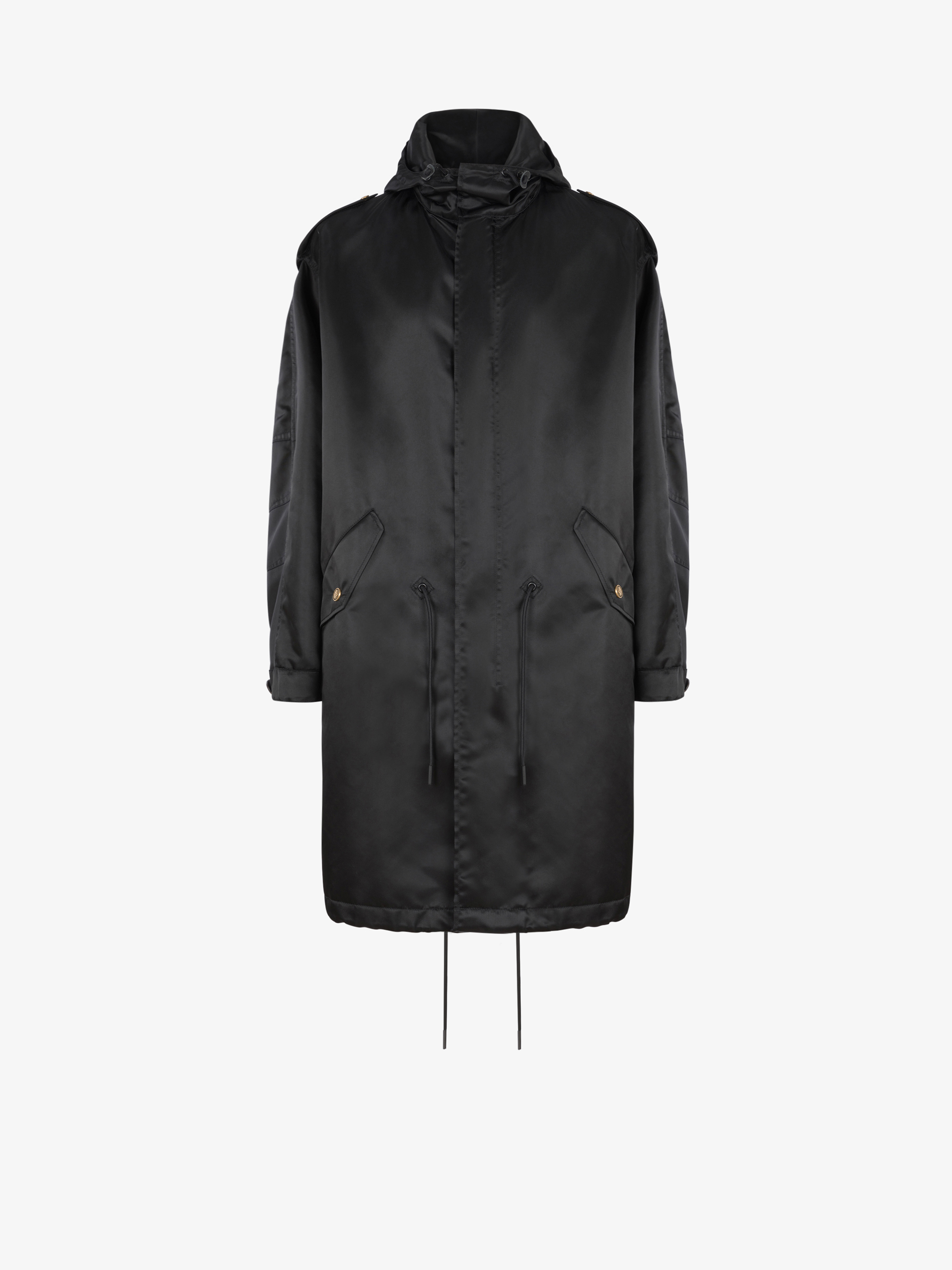 Parka in brillant nylon with 4G buttons