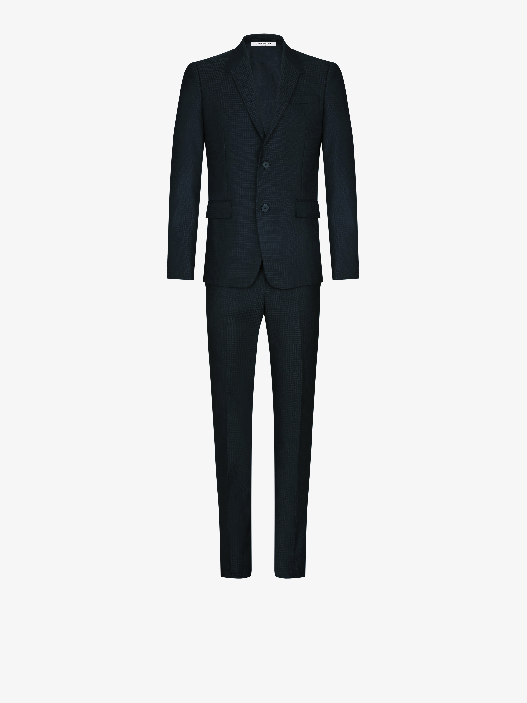 Regular fit wool suit with contrasted collar