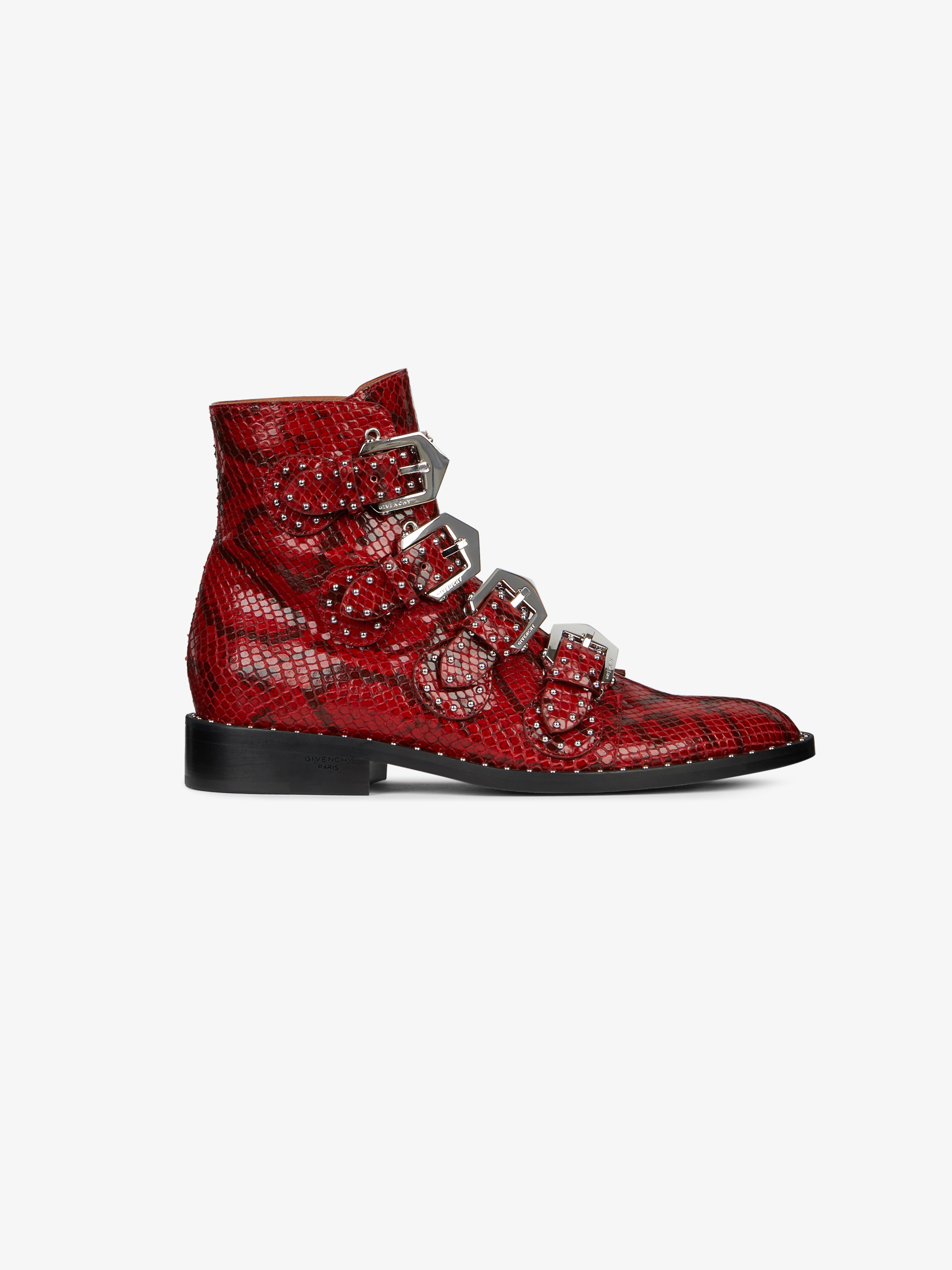 Multi-strap boots in python-effect leather with studs