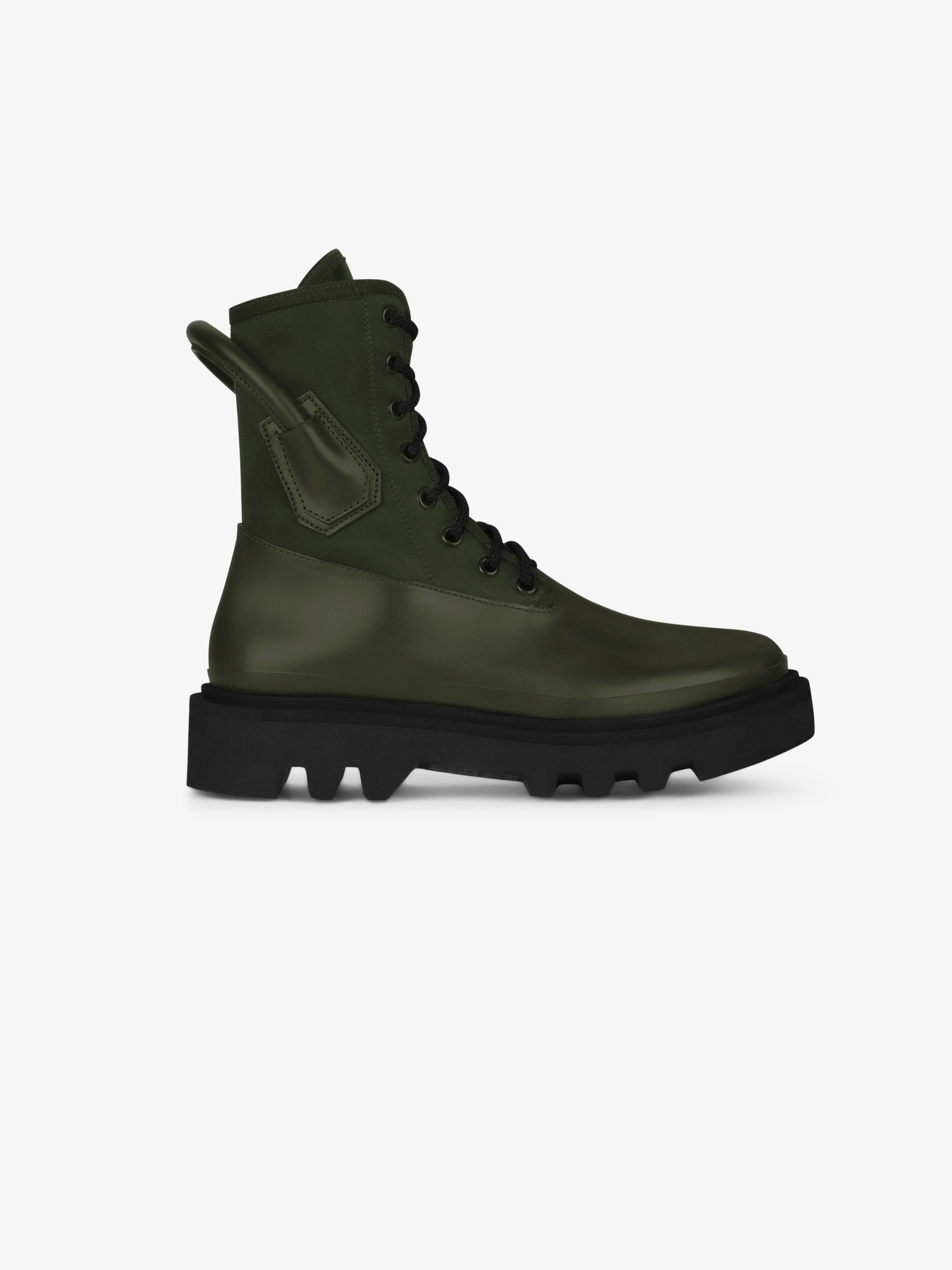 Combat boots in rubber neoprene and satin
