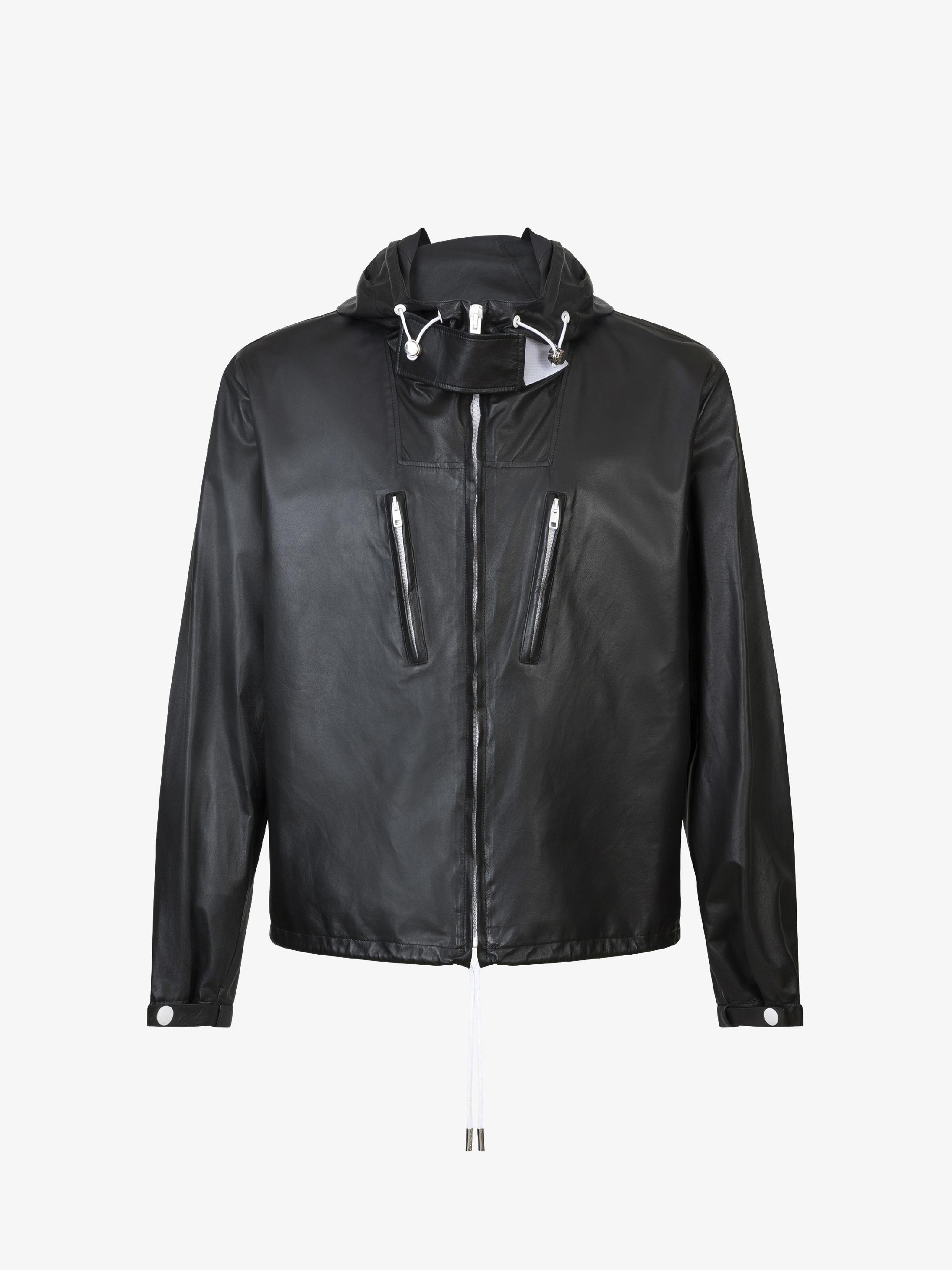 Hooded windbreaker in leather
