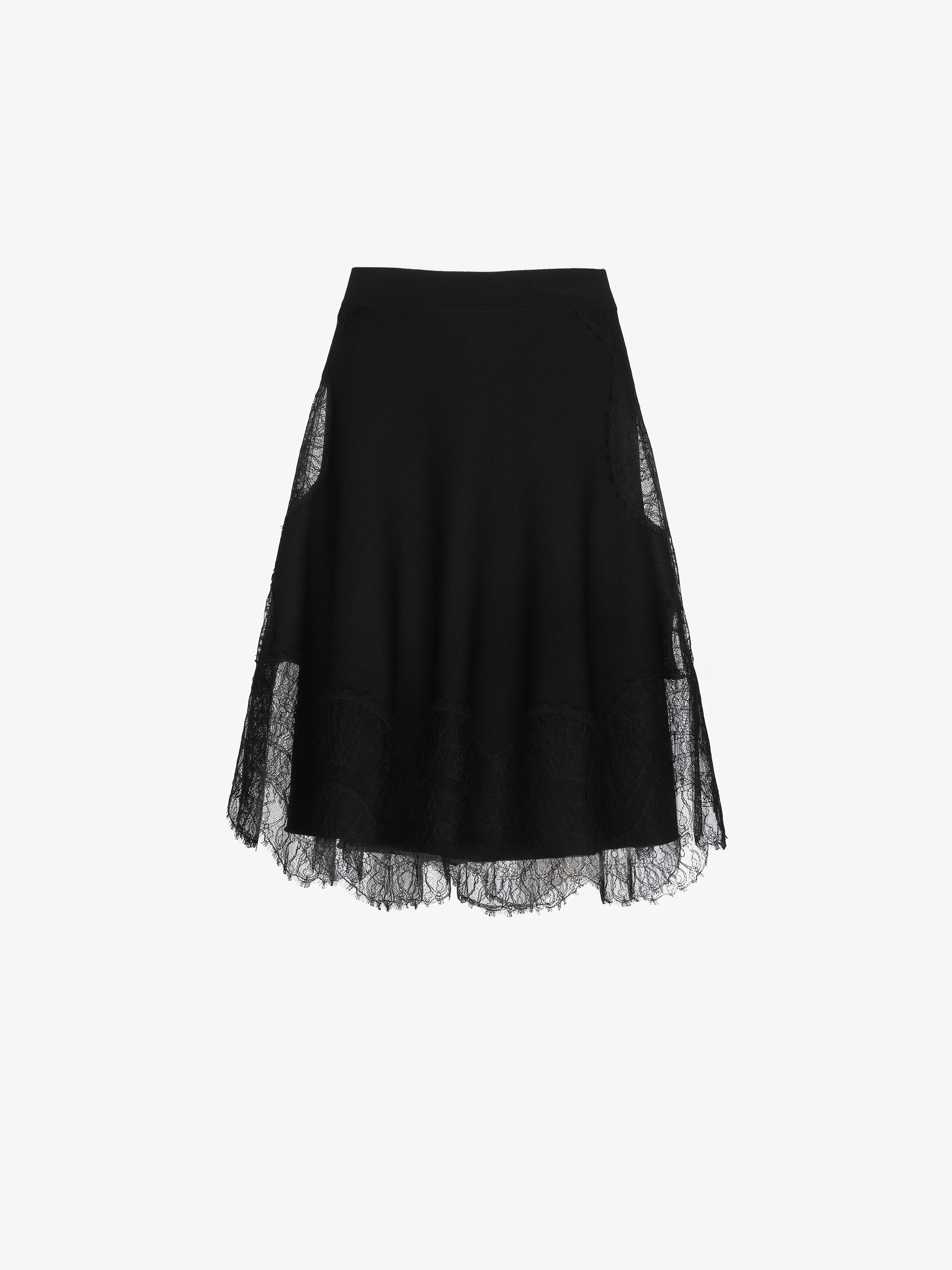 A-line skirt in crêpe viscose and lace