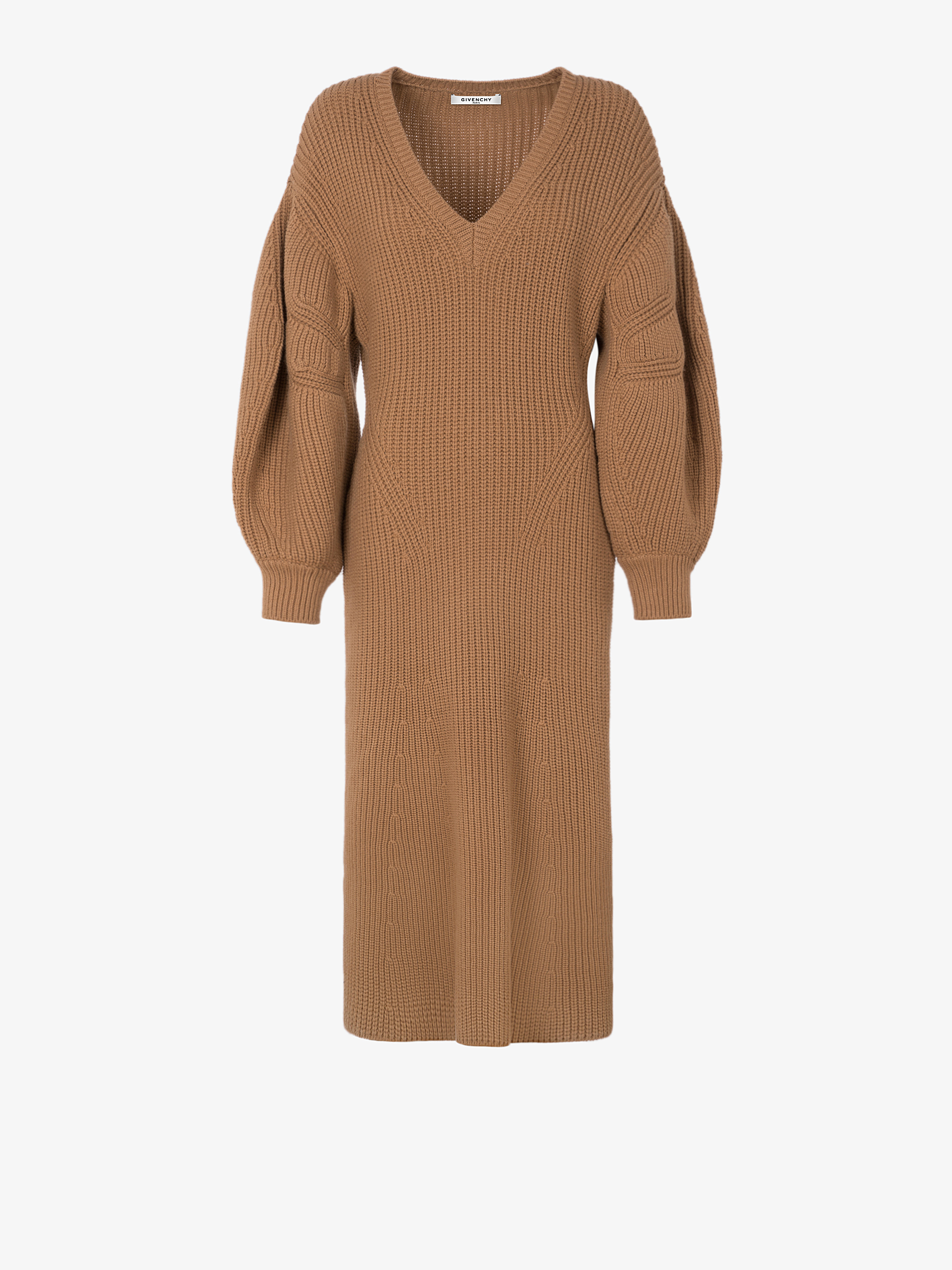 Knitted mid-length dress with puff sleeves