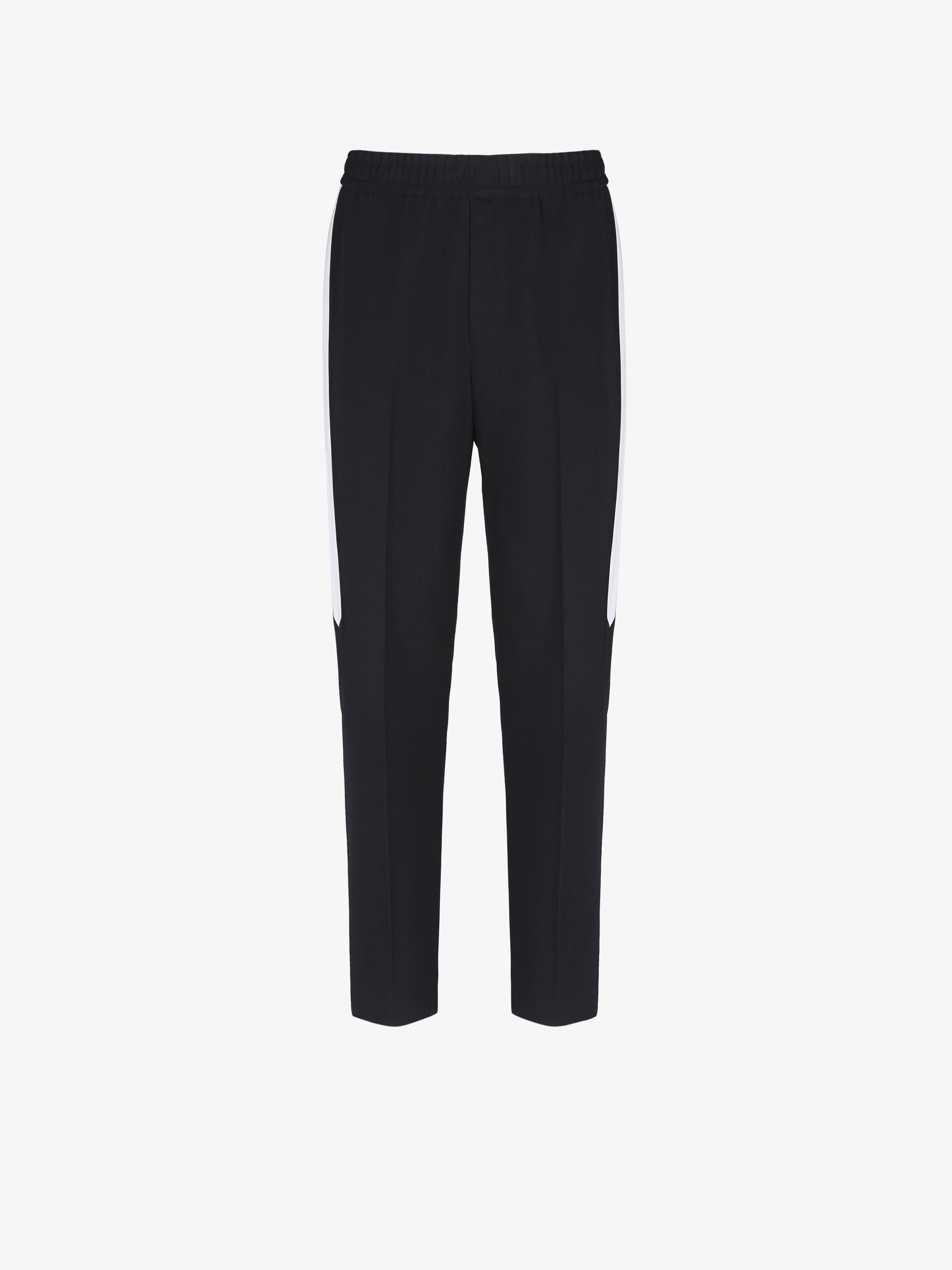 Side bands jogger pants in grain de poudre
