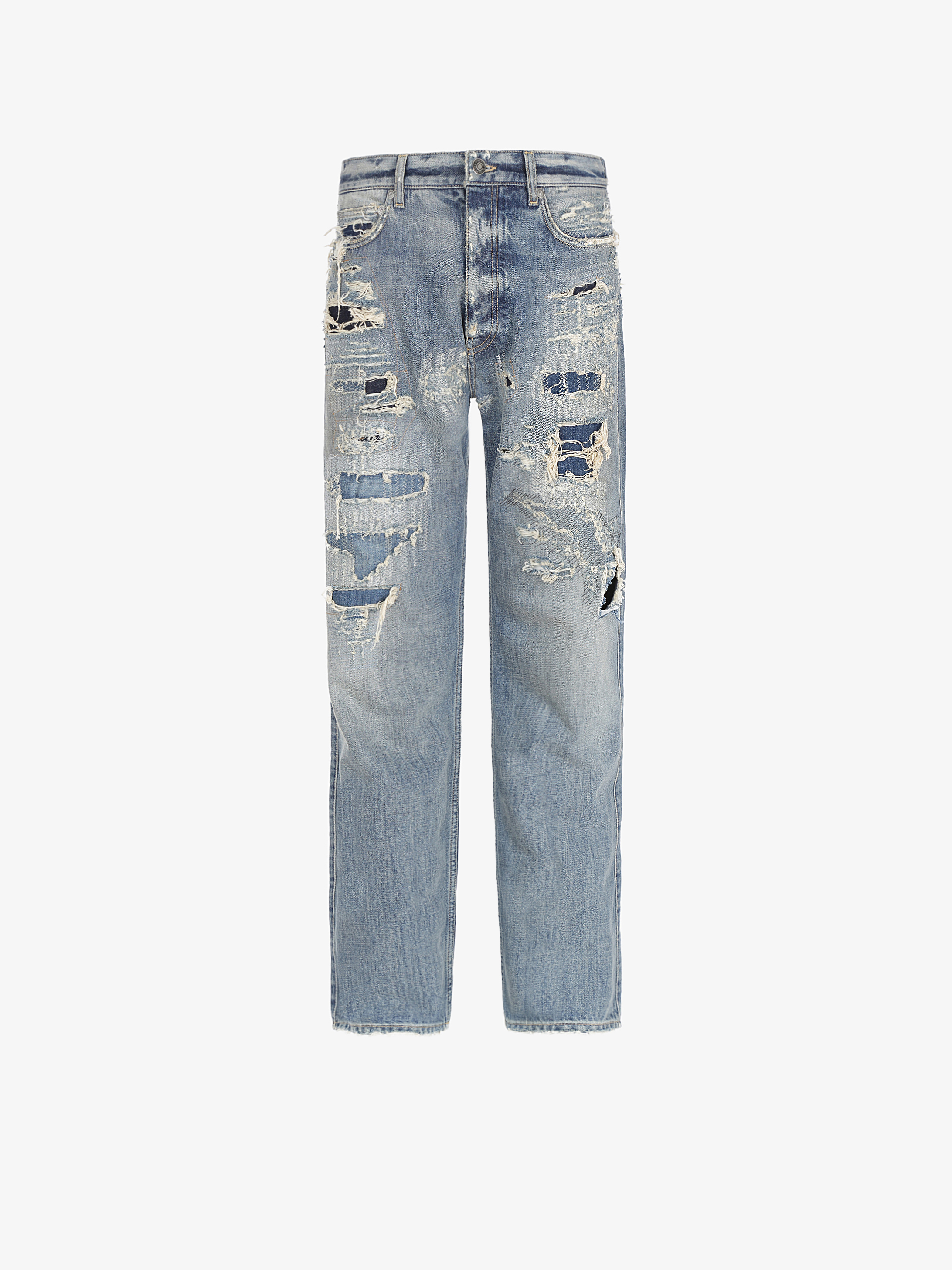Destroyed effect jeans