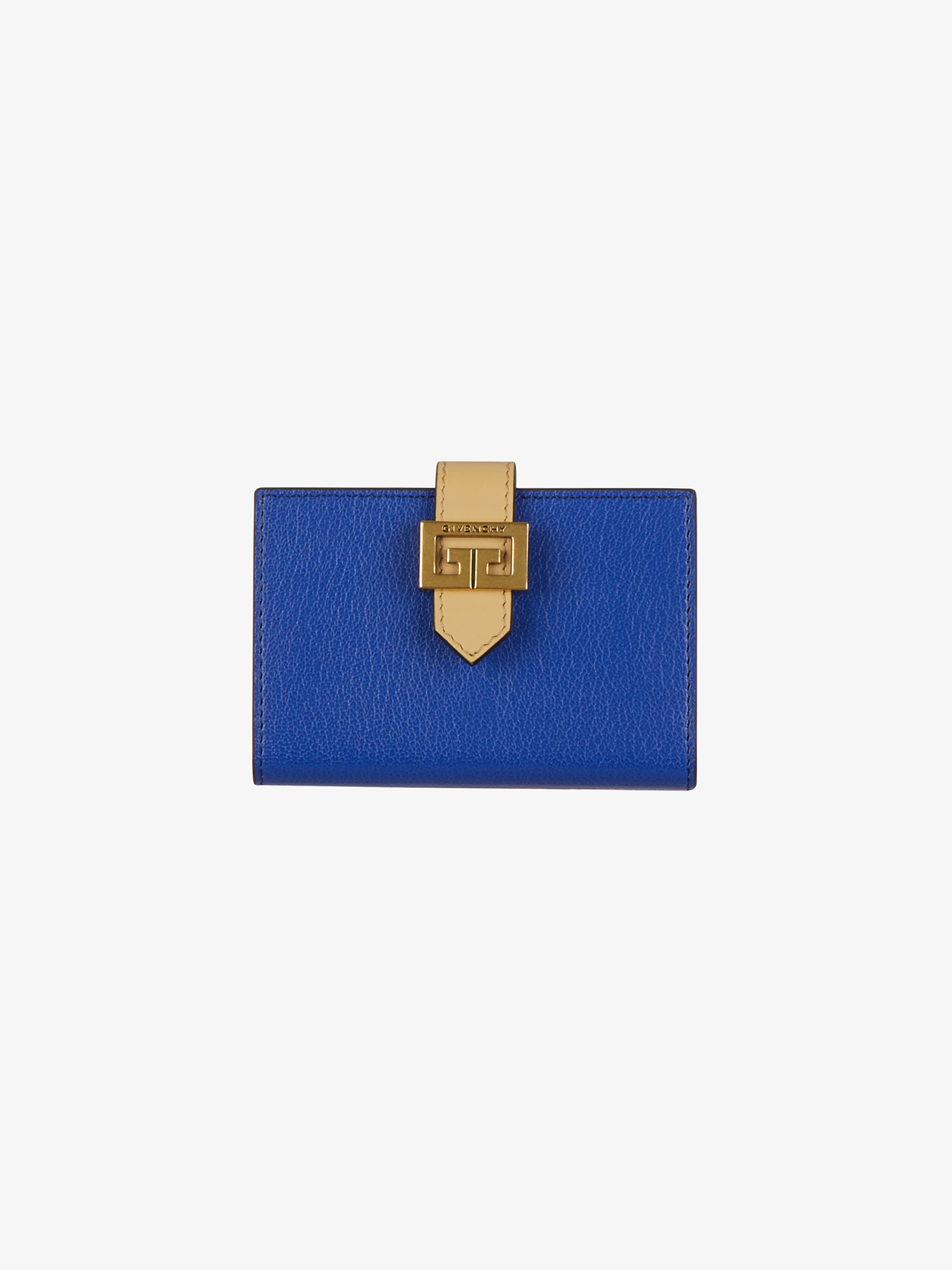 Two tone GV3 card holder in grained leather