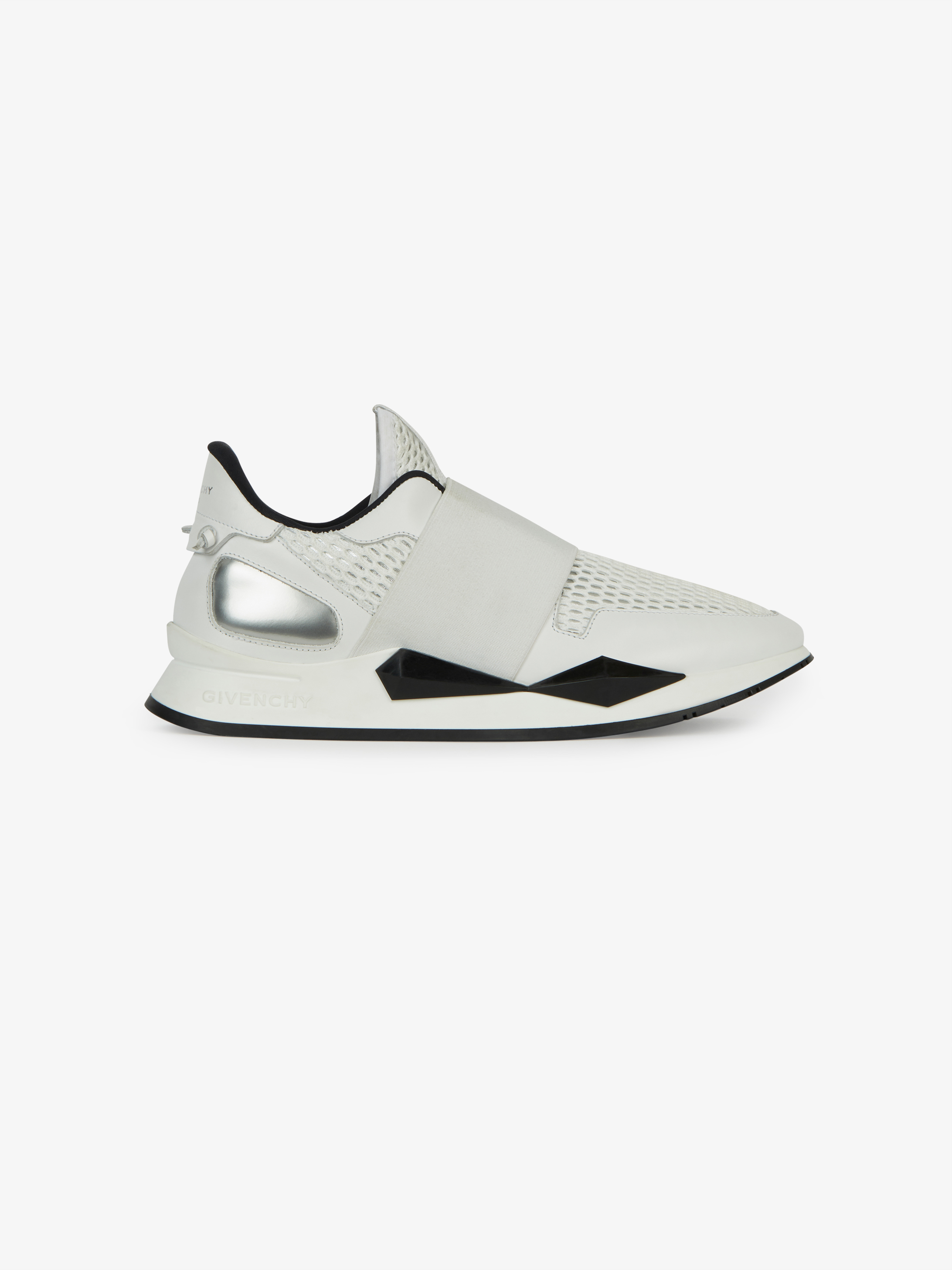Elastic strap sneakers in suede and leather