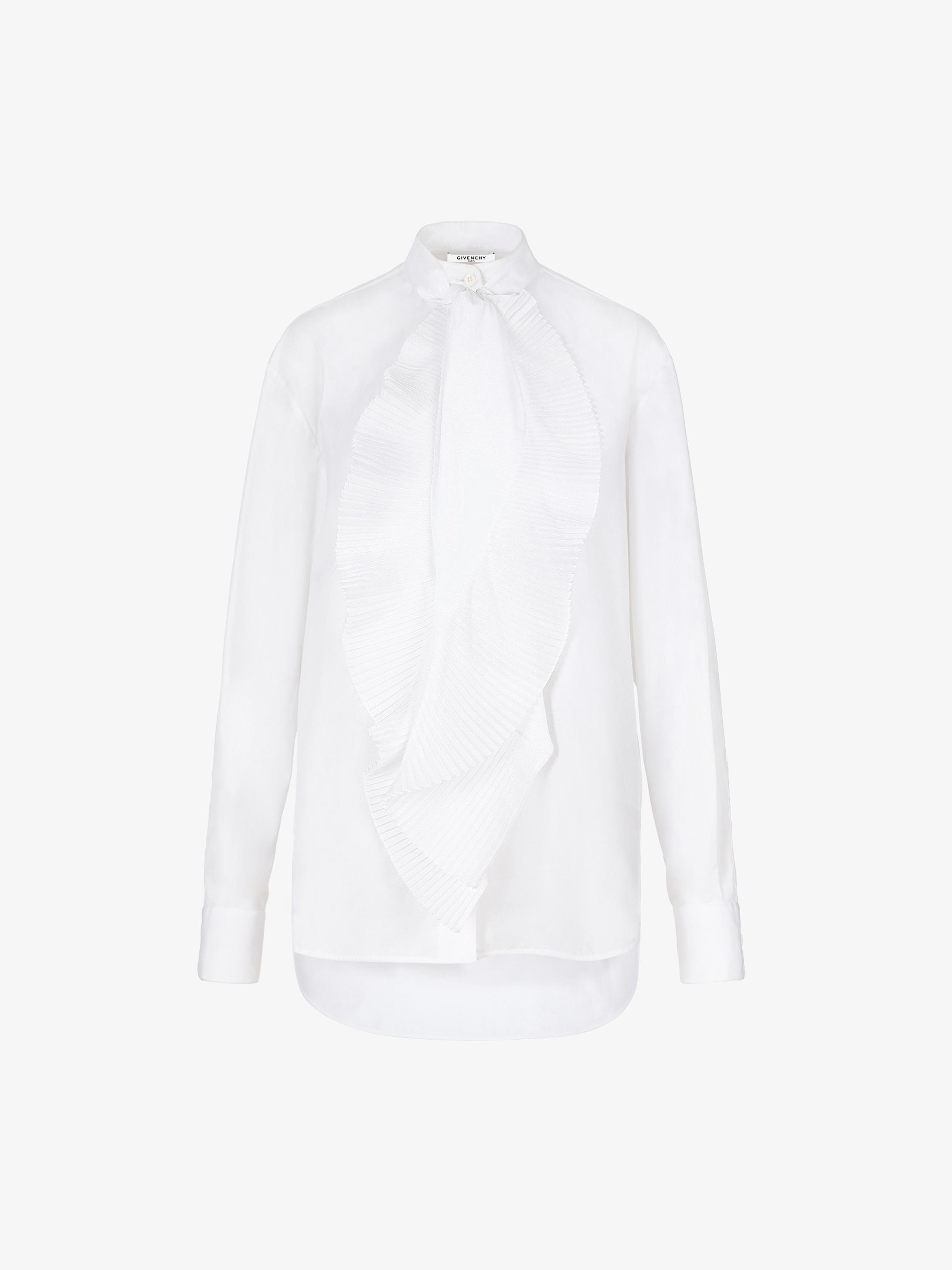 褶裥围巾领府绸衬衫