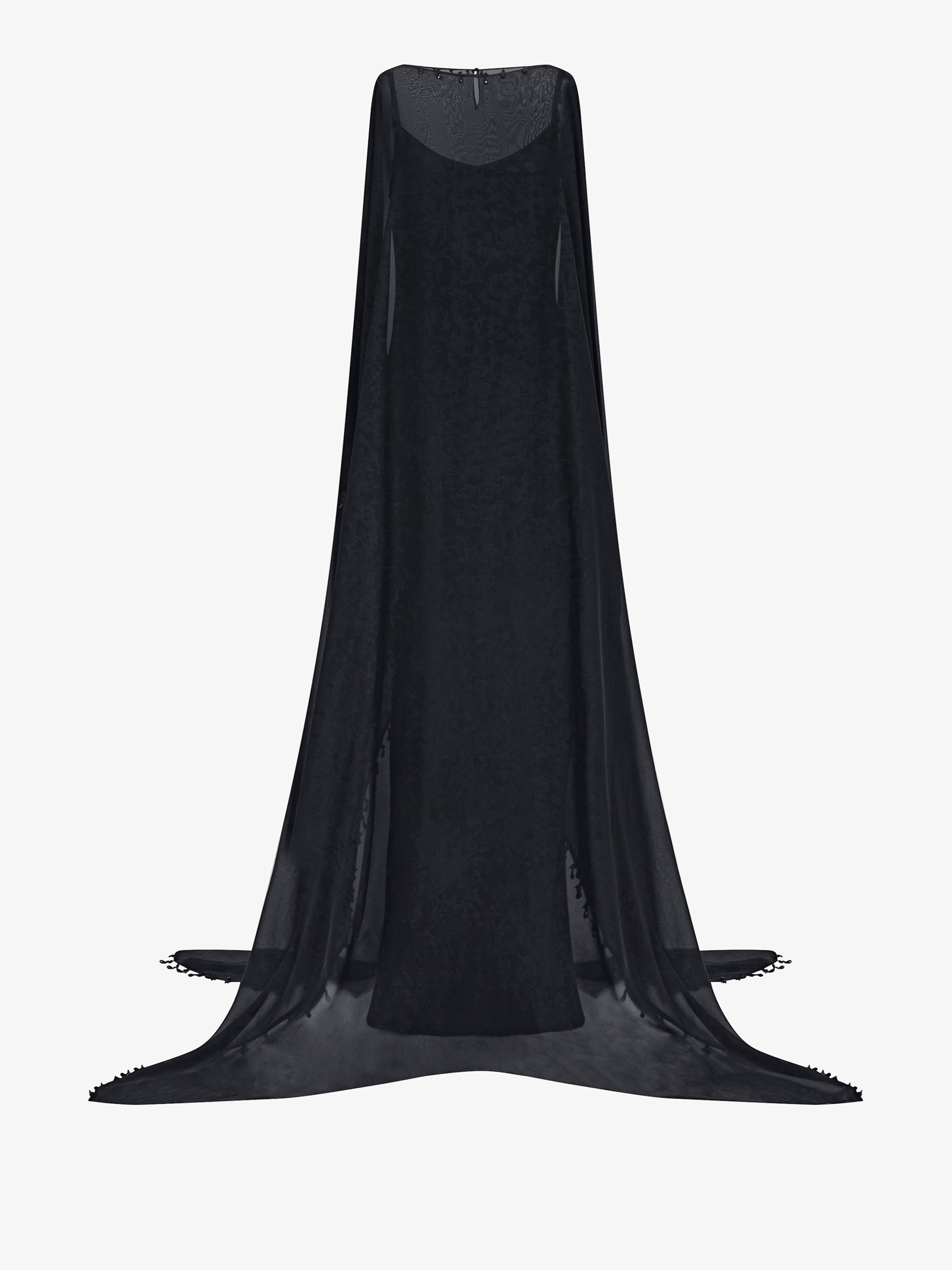 Long cape-dress with crystals