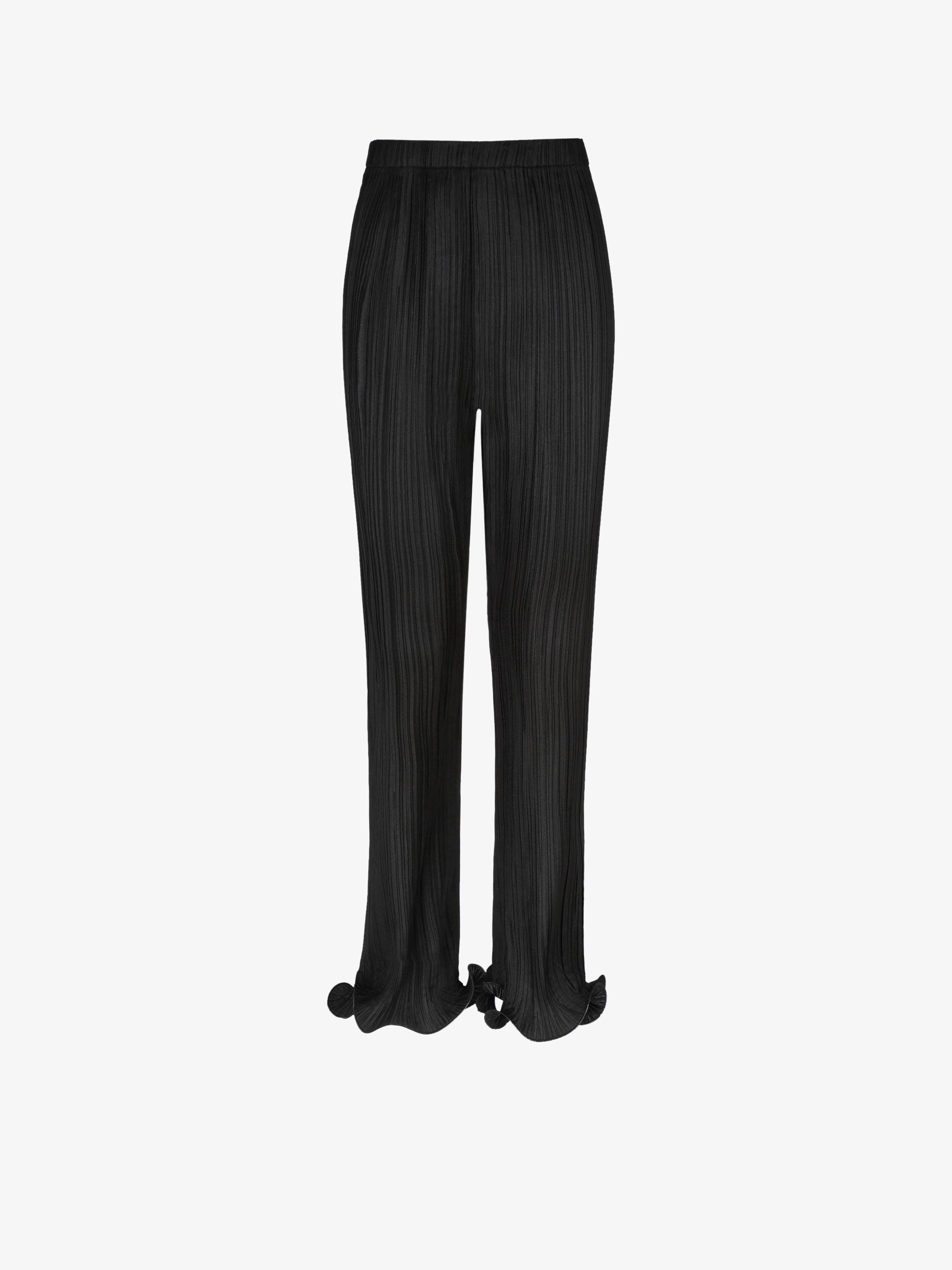 Pantalon en satin plissé