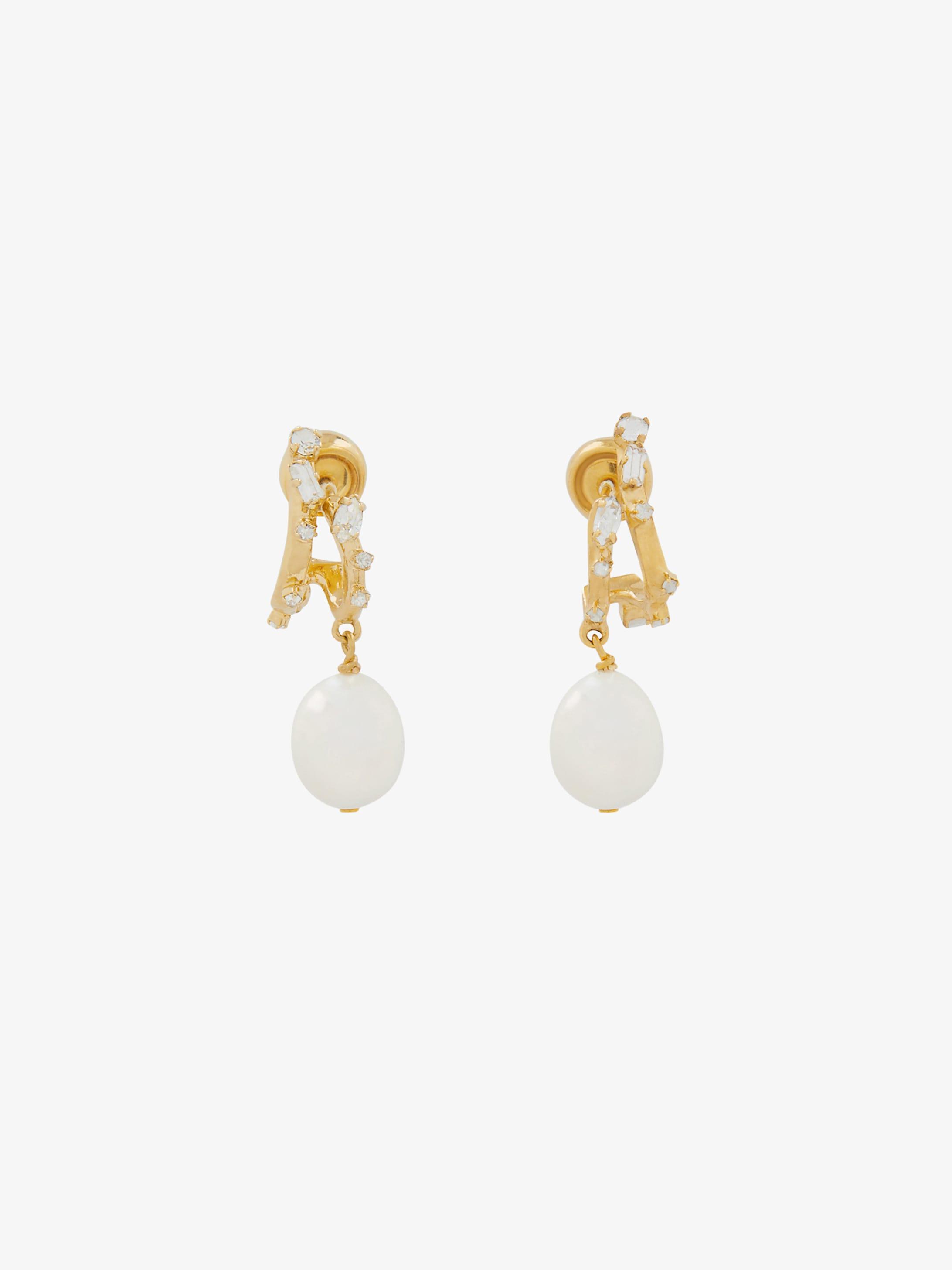 Boucles d'oreilles Spiral avec cristaux et perle
