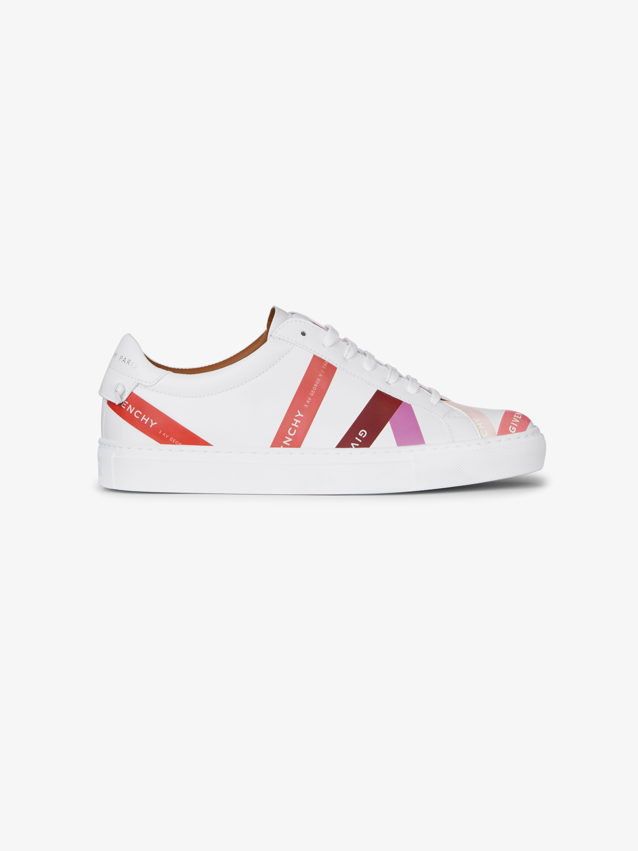 Sneakers in leather with multicoloured GIVENCHY bands