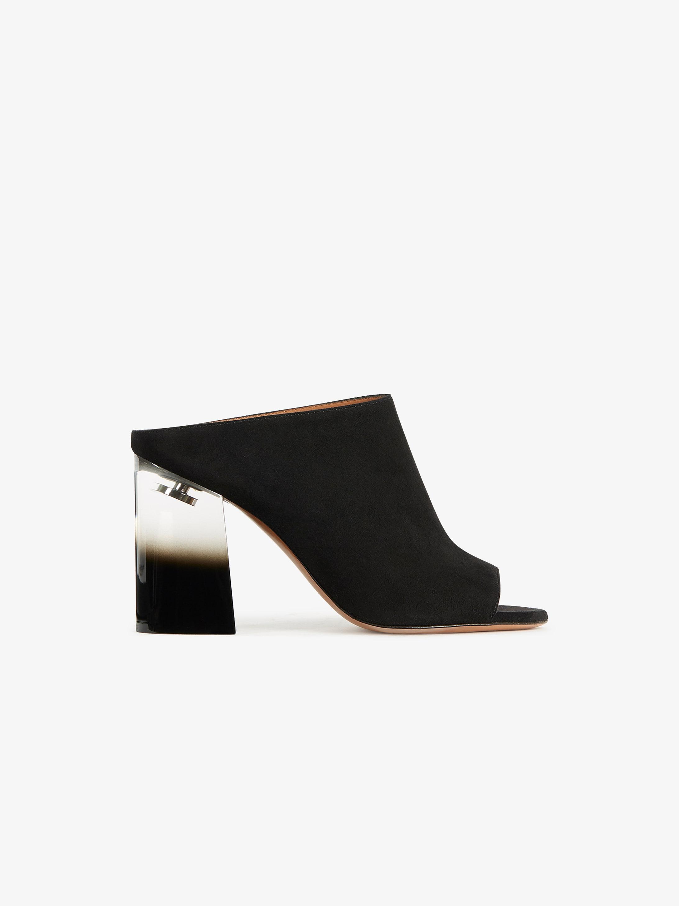 Suede mules with plexiglas heels