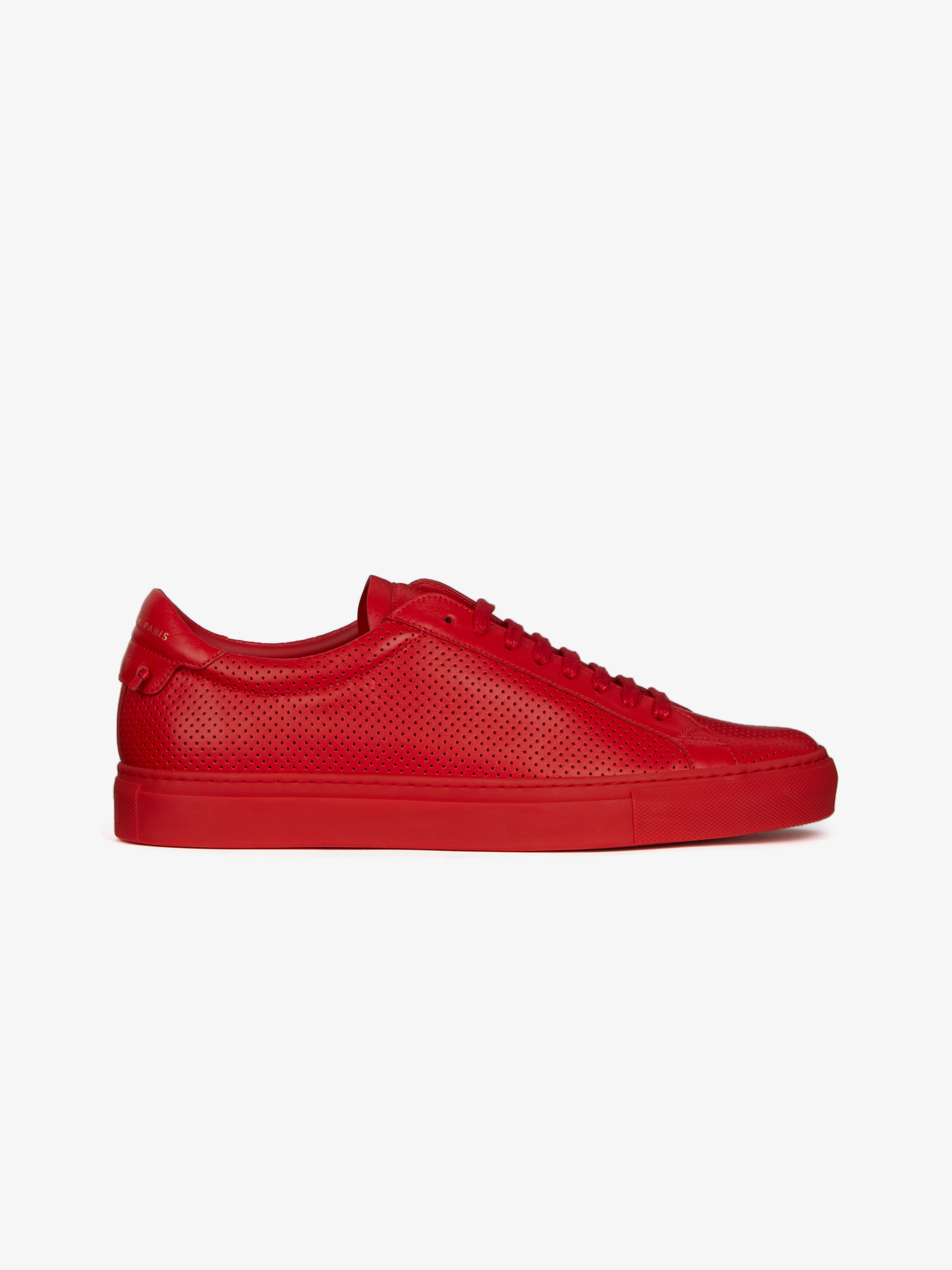 perforated low sneakers in leather