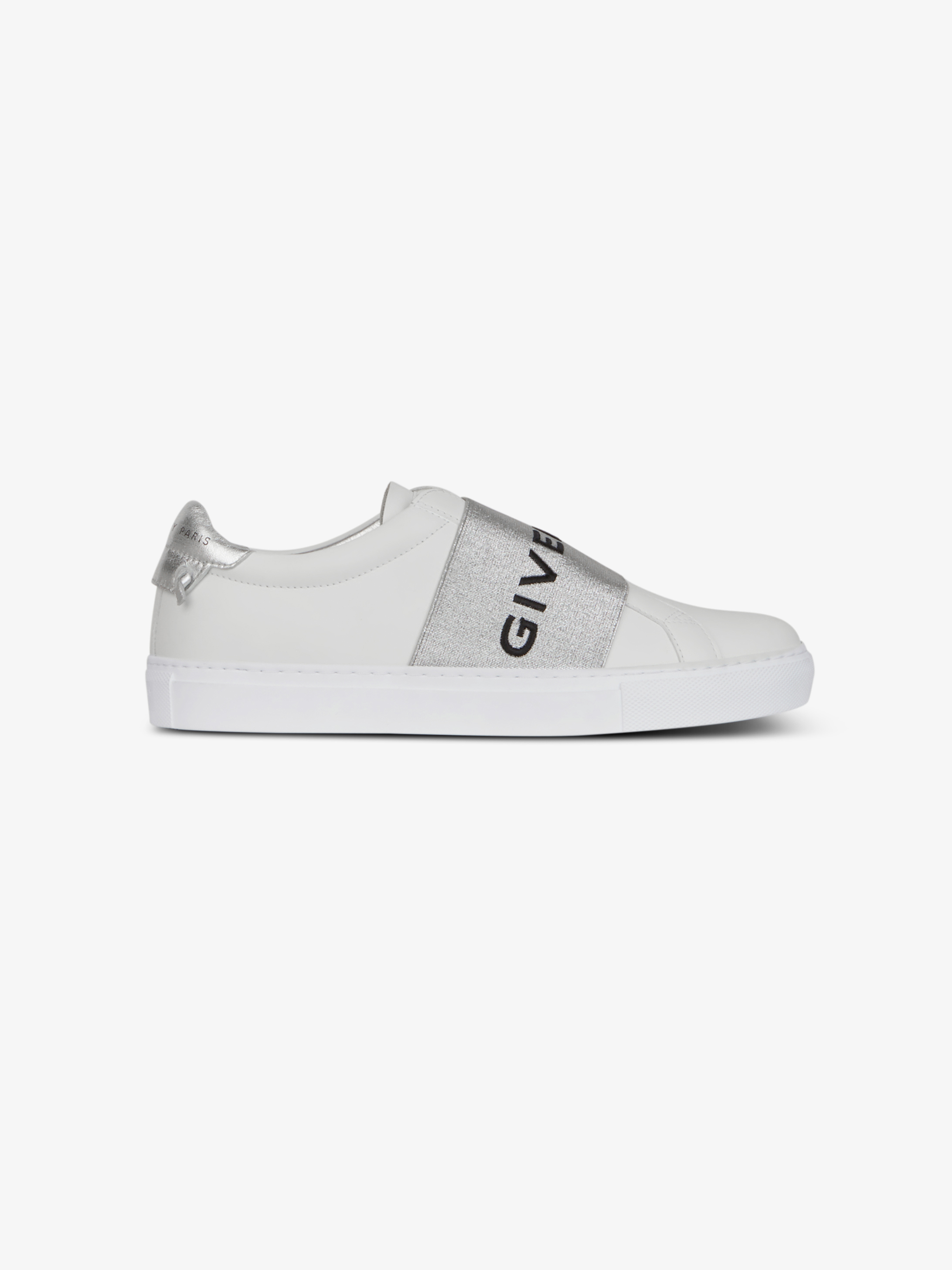 GIVENCHY PARIS metallized strap sneakers in leather