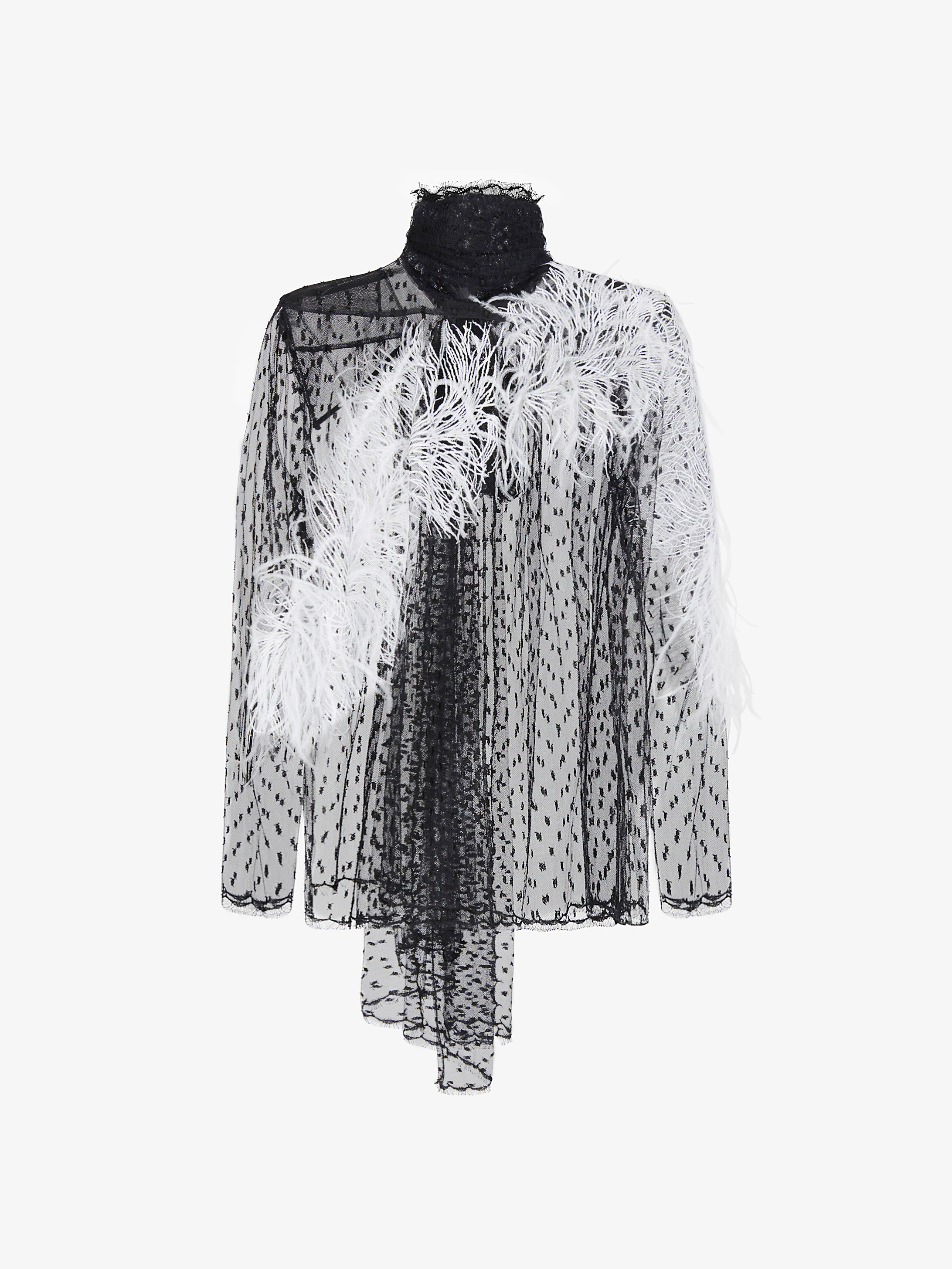 Blouse in tulle with feather embroidered