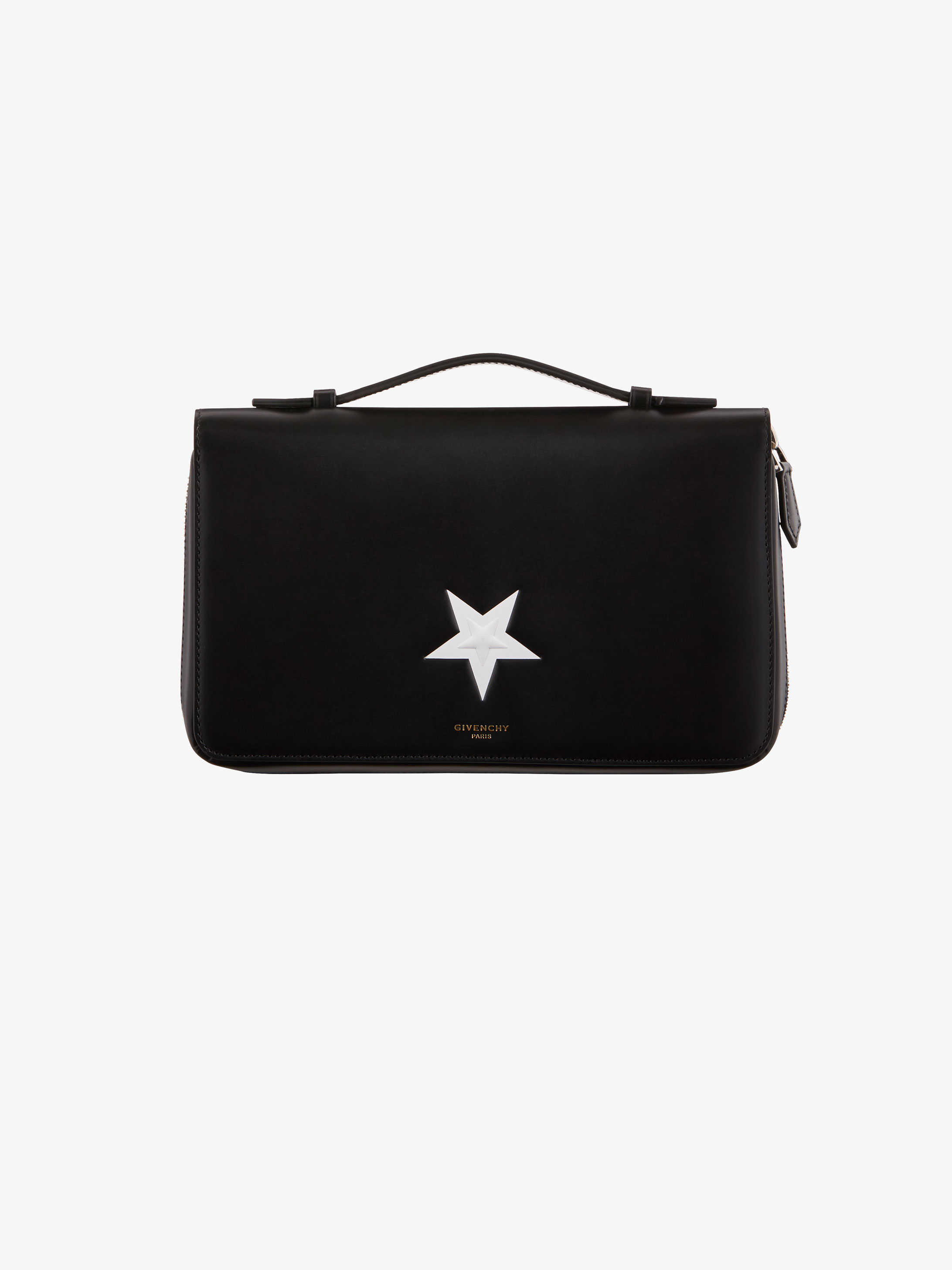 Contrasted star leather box pouch