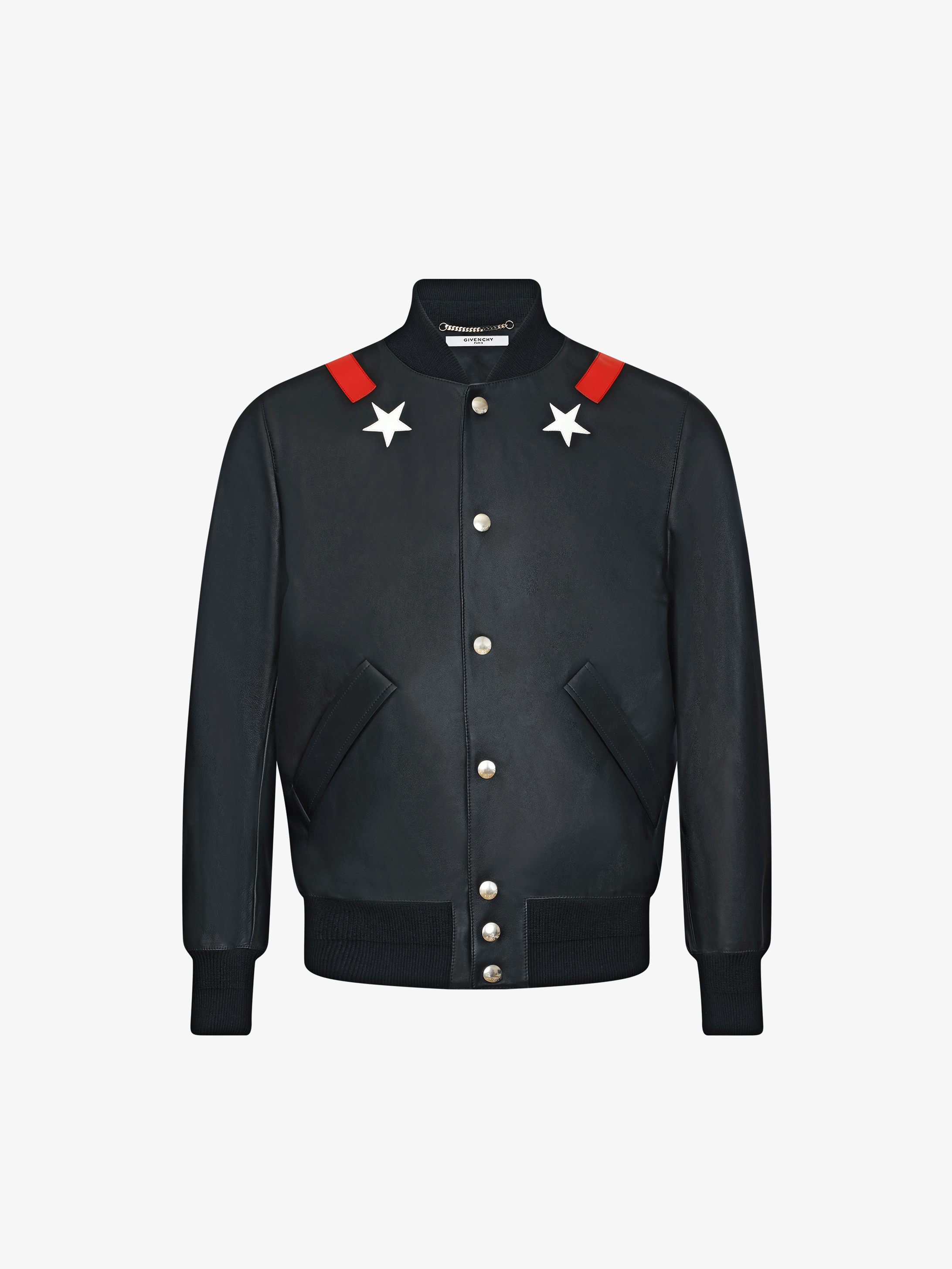 Star contrasting leather bomber jacket