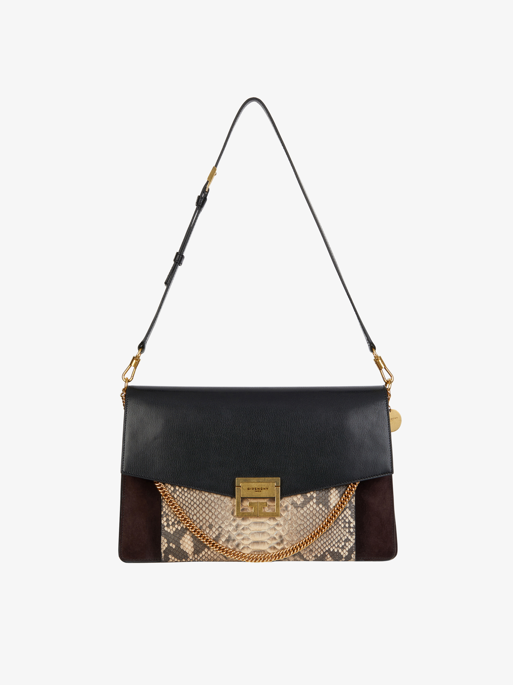 Large GV3 bag in leather, suede and python