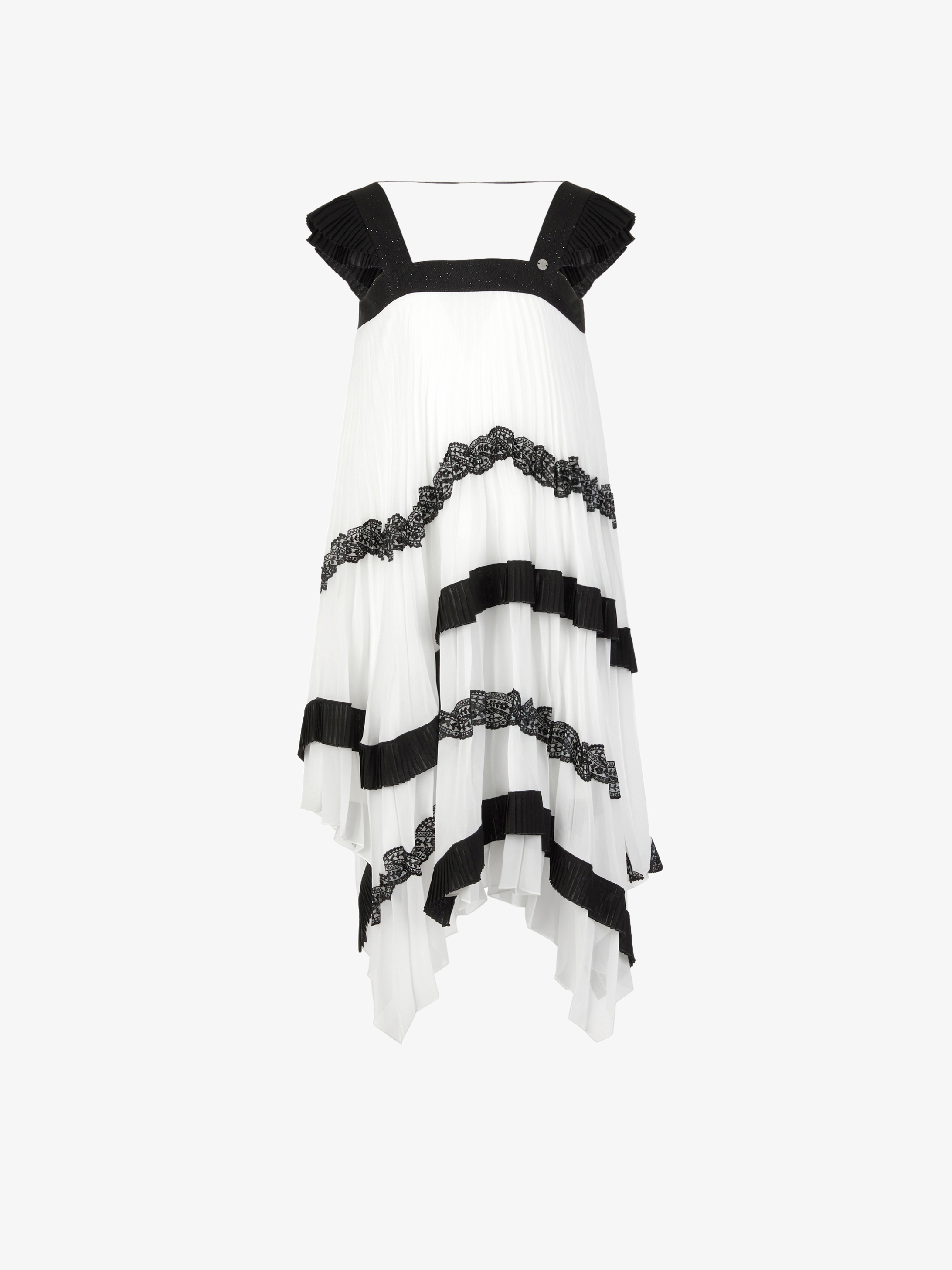 Pleated dress with French lace details