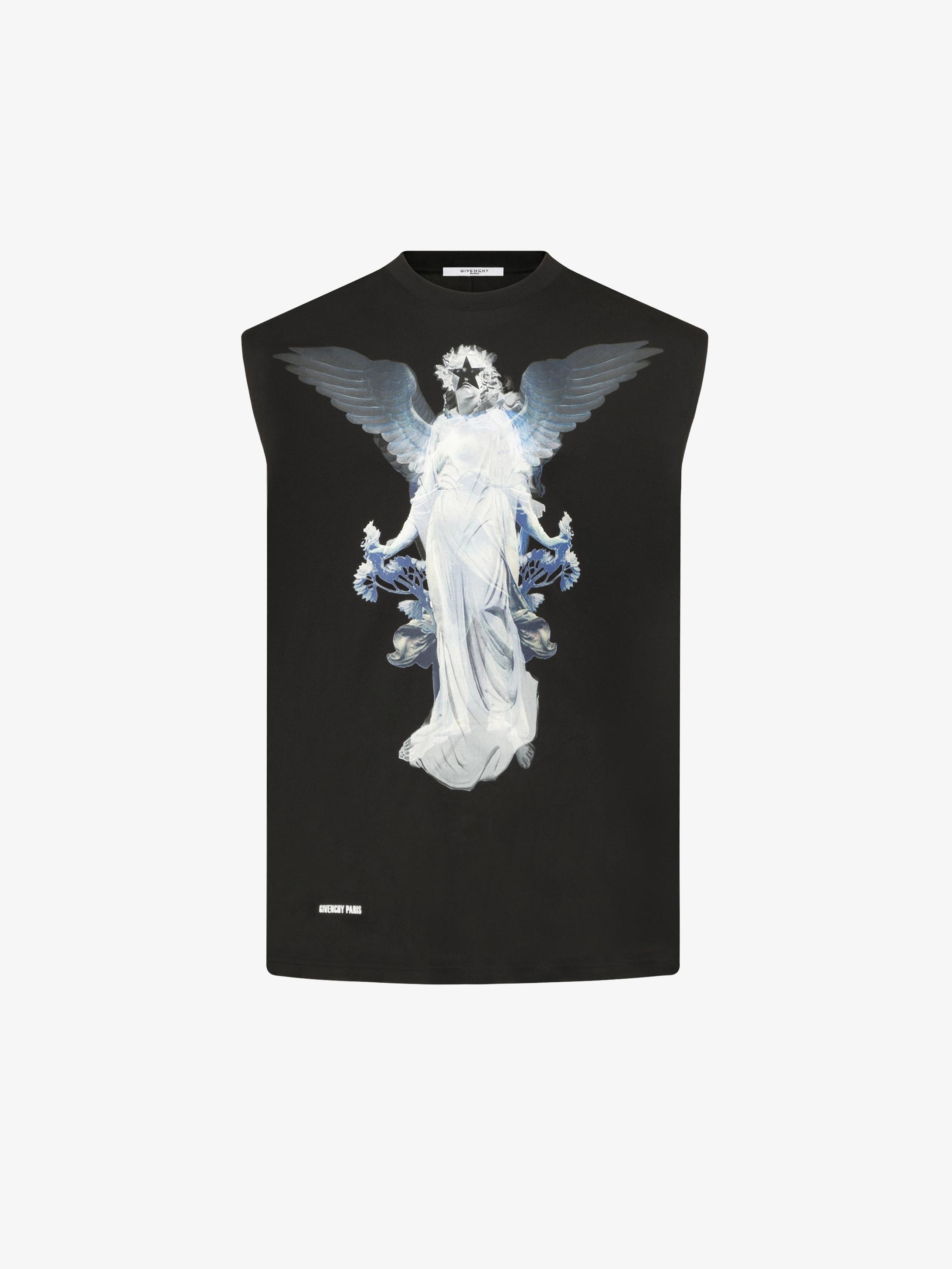 Sleeveless Angel printed t-shirt