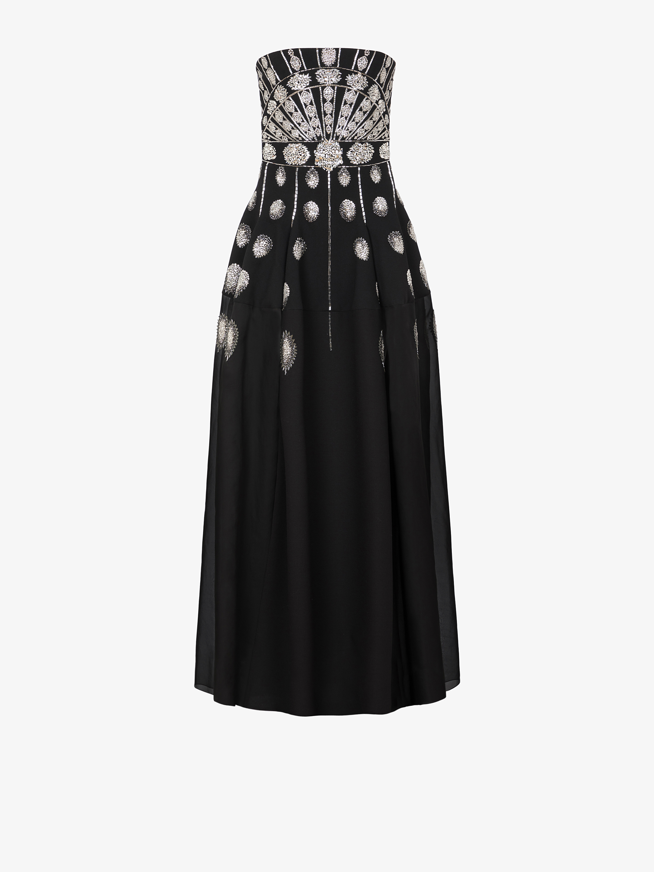 Crystal embroidered evening bustier dress
