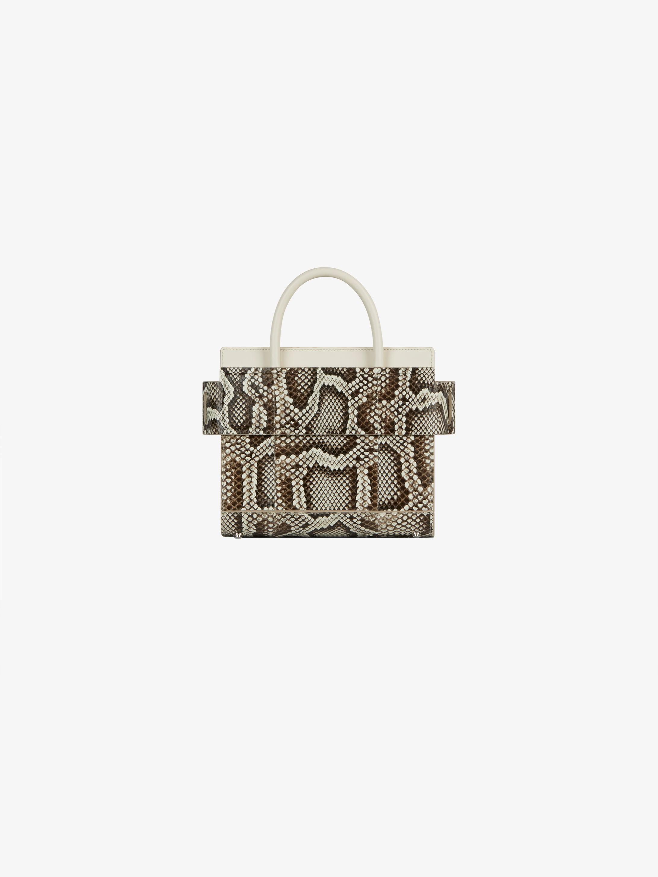 Mini Horizon bag in python and leather