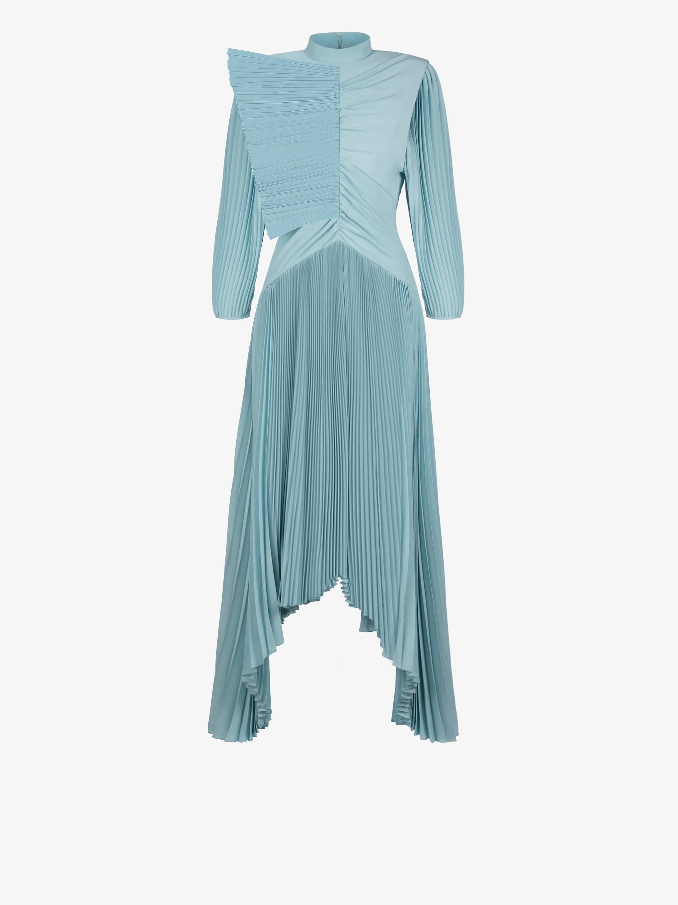 Graphic ruffle pleated dress