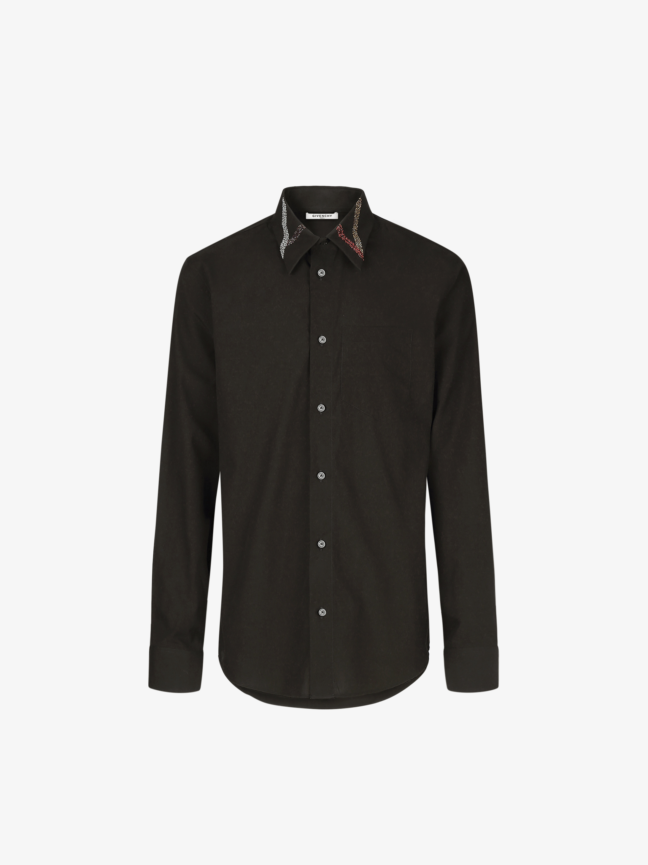 Tuxedo shirt with embroidered collar