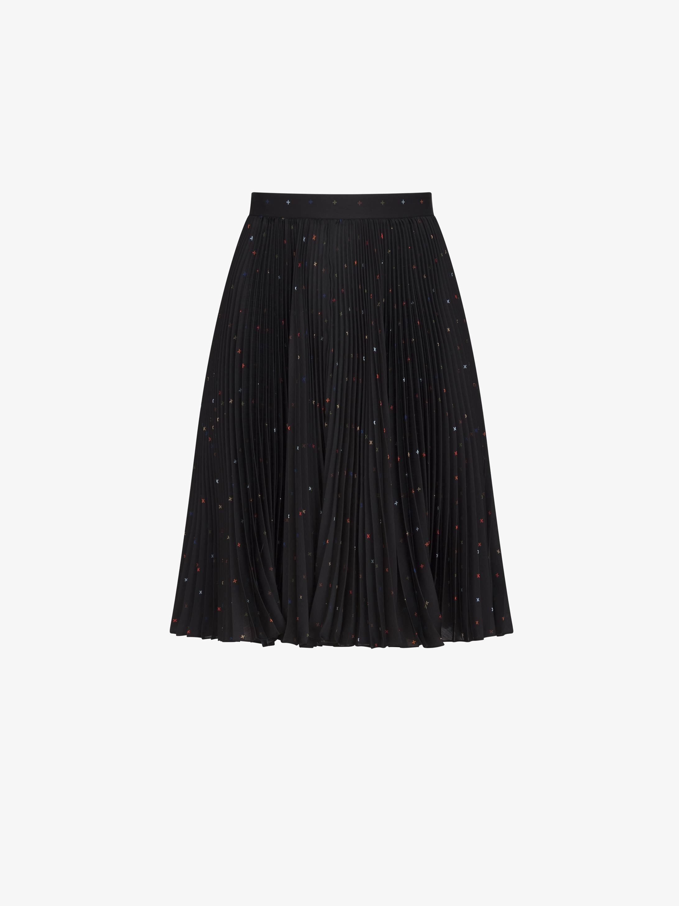Pleated skirt with multi-color crosses