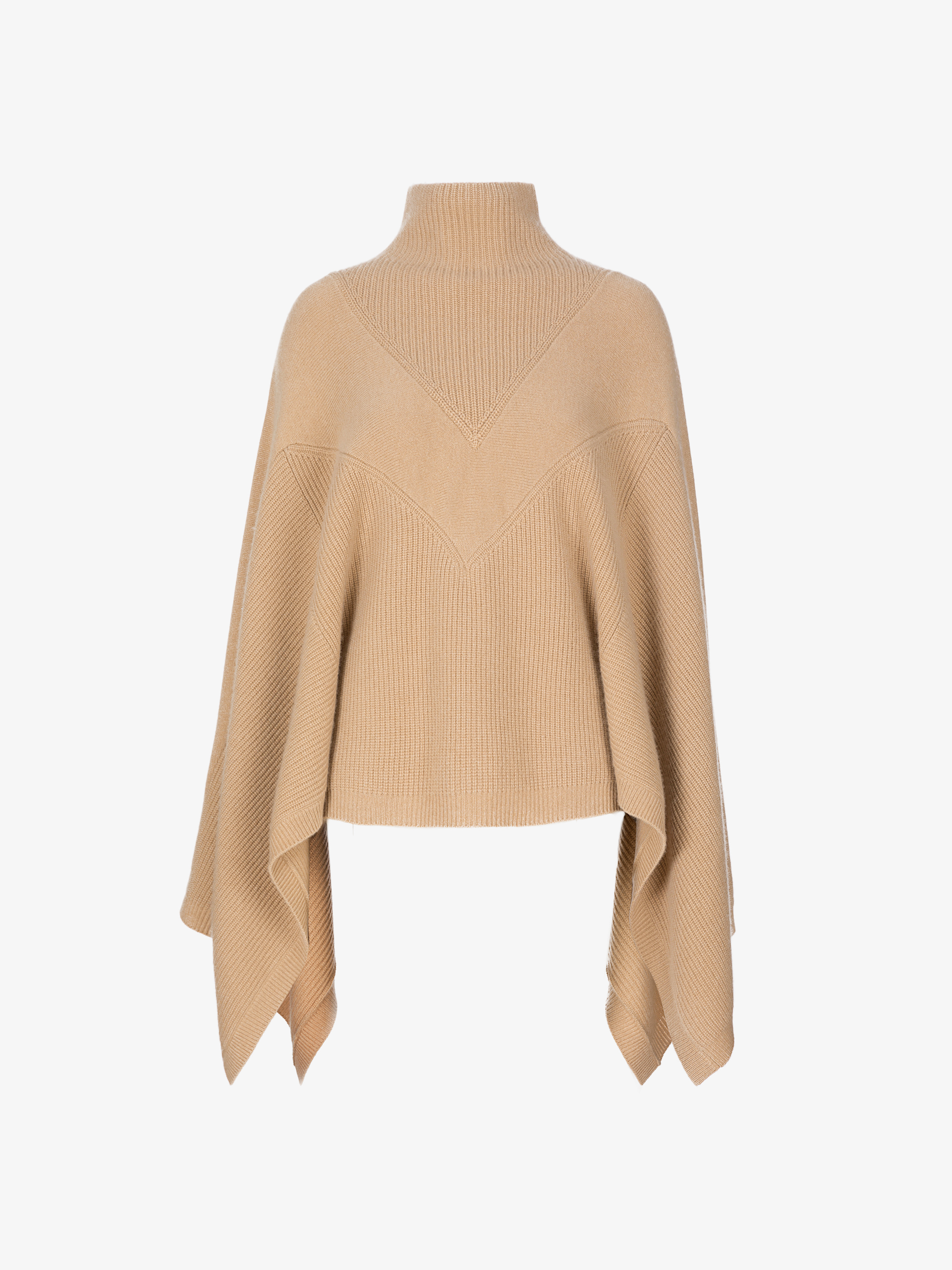 Knitted cape sweater in cashmere