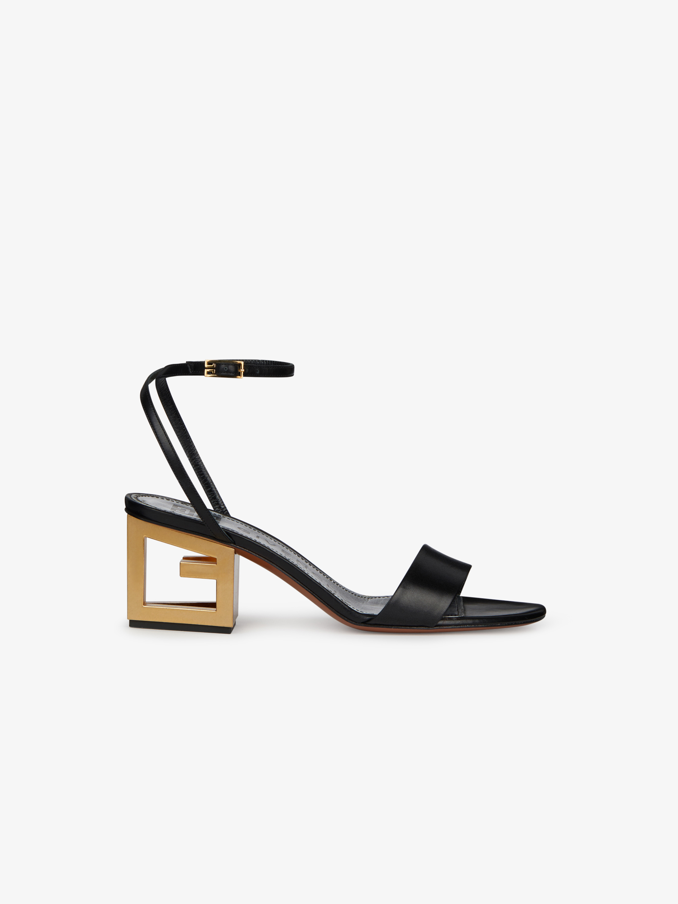 Gold G heel sandals in leather